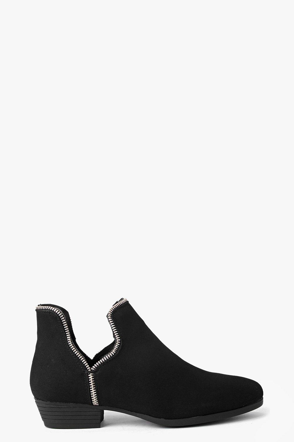 Tilly Zip Trim Cut Away Ankle Boot