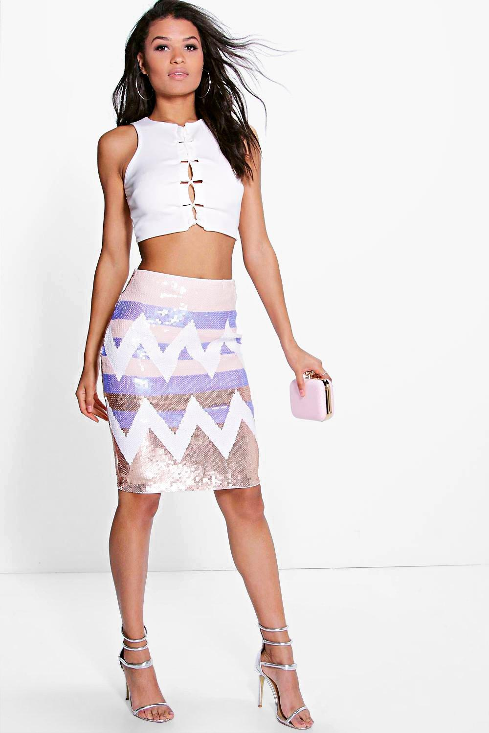 Boutique Giselle Sequin Midi Skirt
