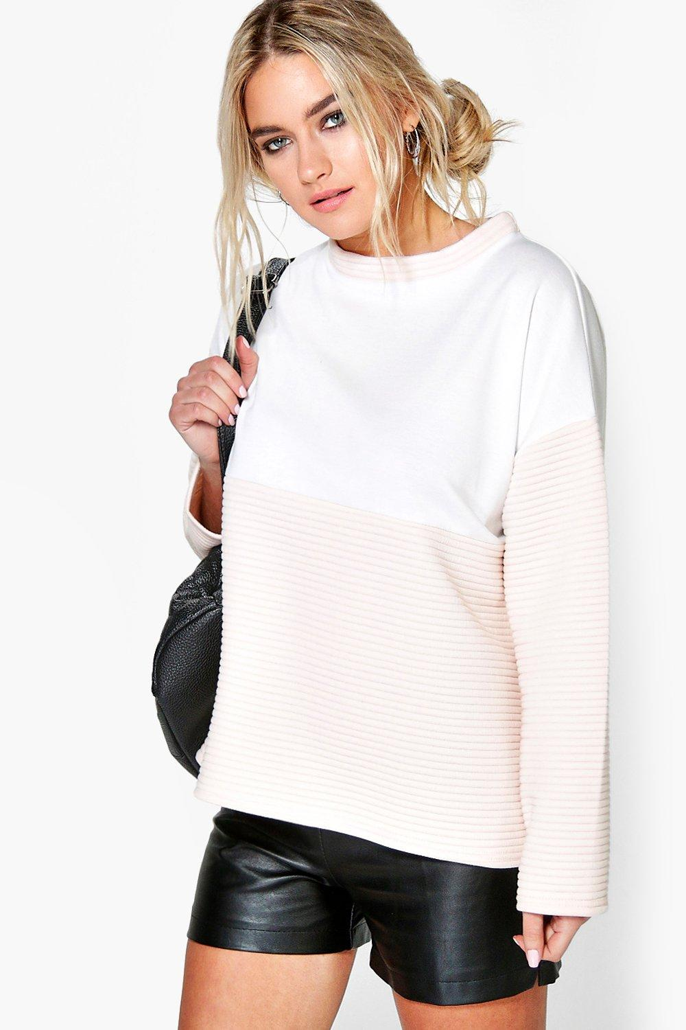 Nina Ribbed Contrast Oversized Boxy Sweat
