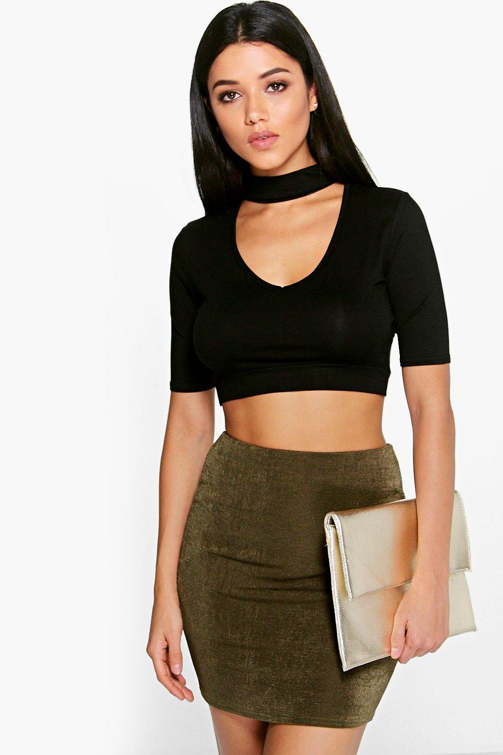 Enya Cut Out Neck & Back Choker Crop