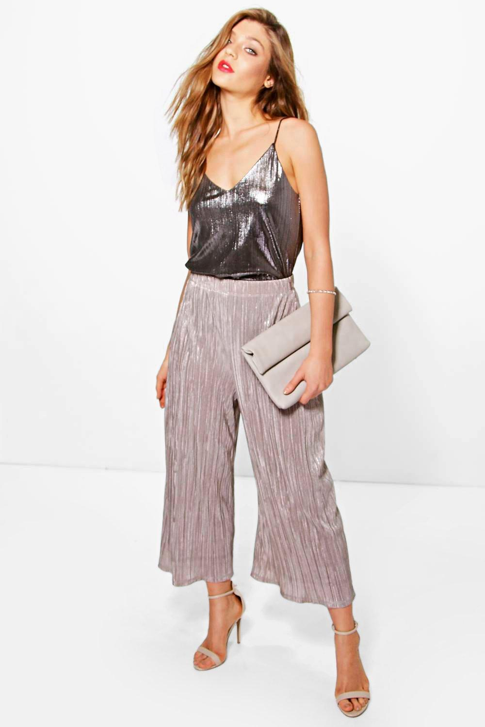 Bea Metallic Pleated Wide Leg Trousers