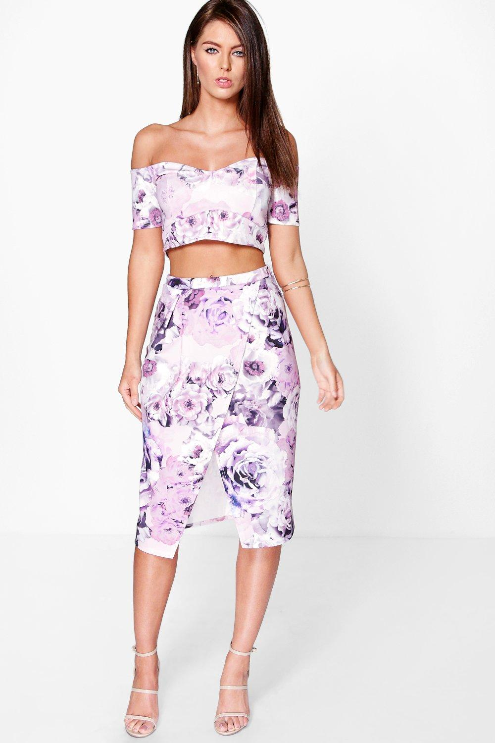Pia Floral Wrap Midi Skirt & Crop Top Co-Ord Set at boohoo.com