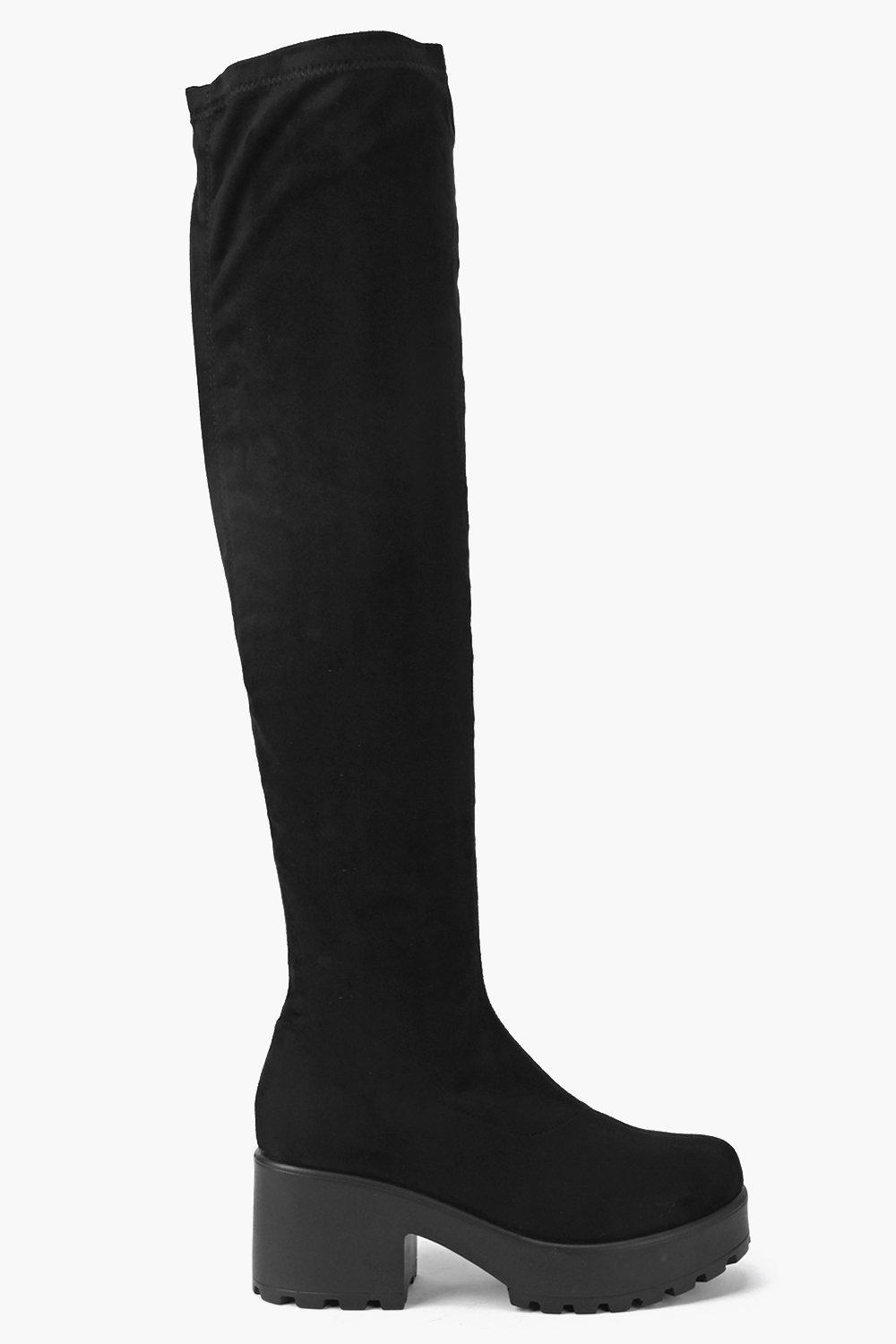Jessica Stretch Knee High Cleated Boot