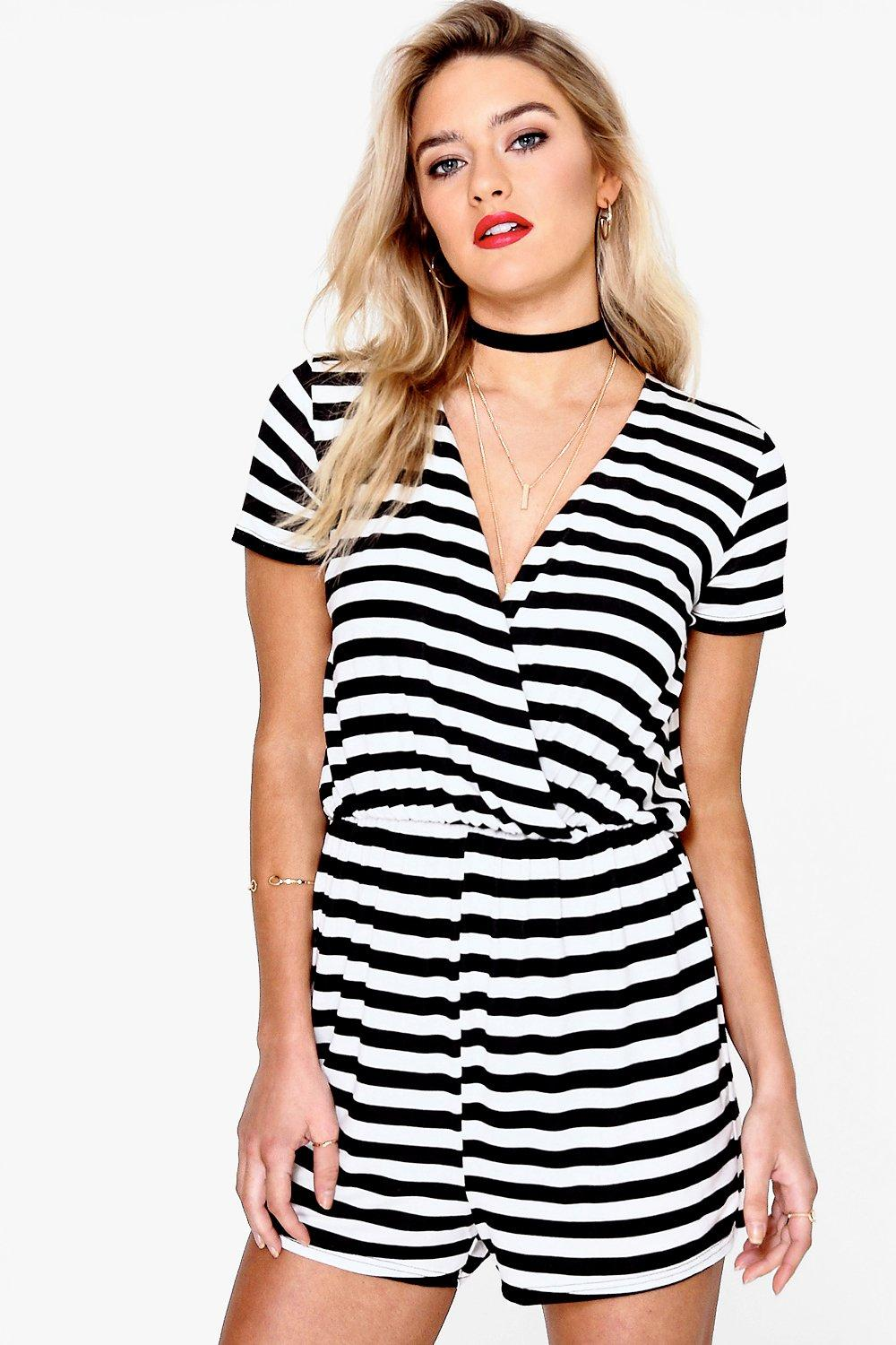 Mila Striped Mono Wrap Playsuit