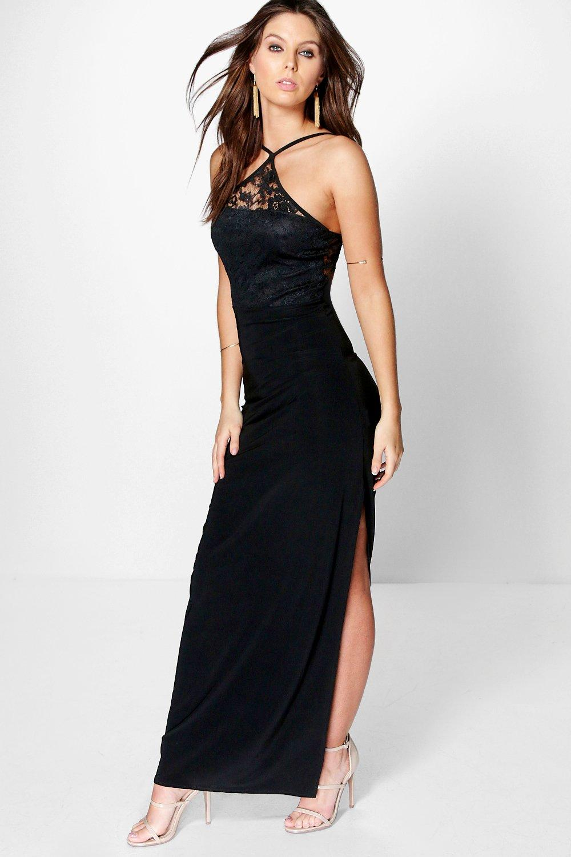 May Lace Slinky Strappy Halterneck Maxi Dress at boohoo.com