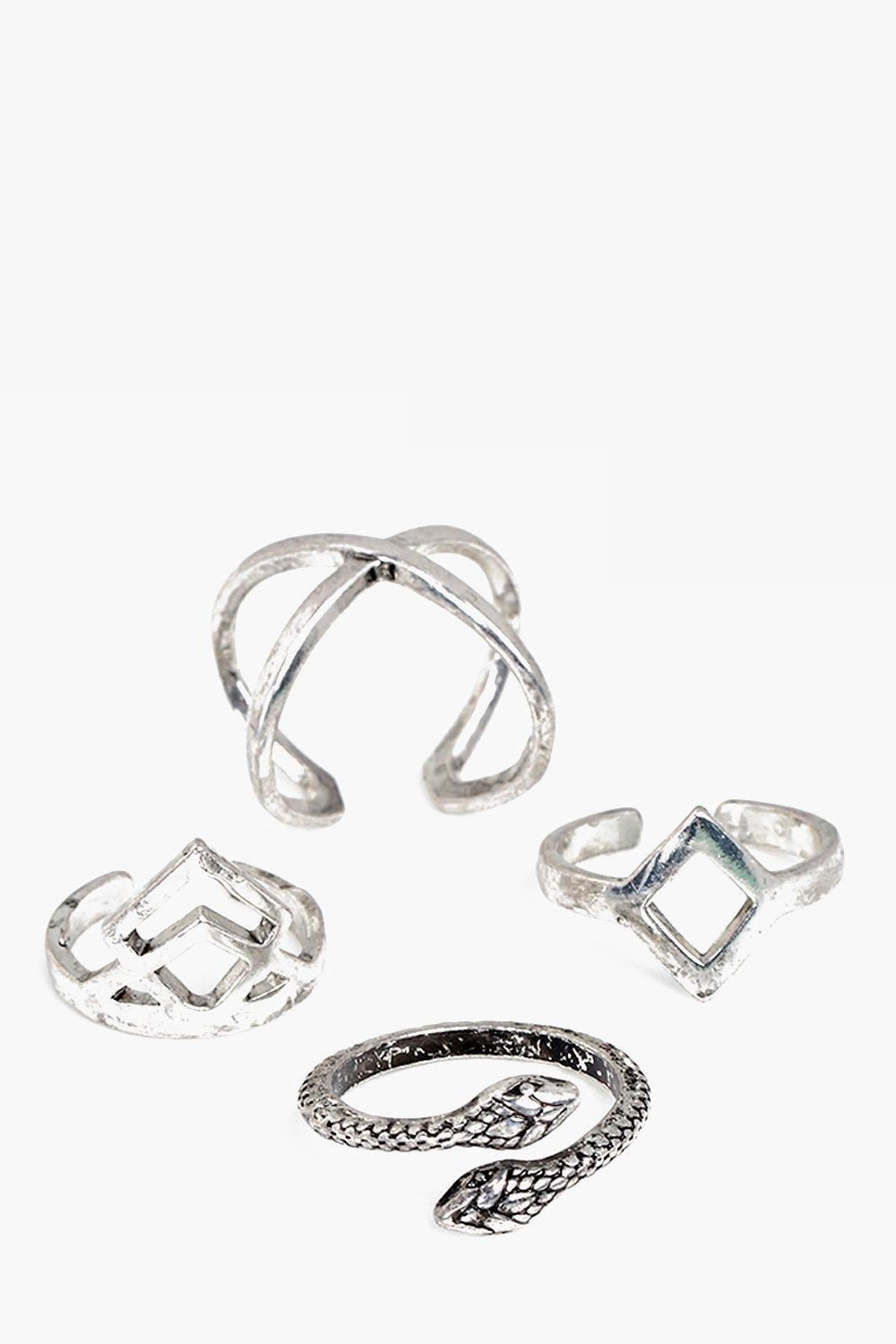 Beatrice Silver Mixed 4 Ring Set