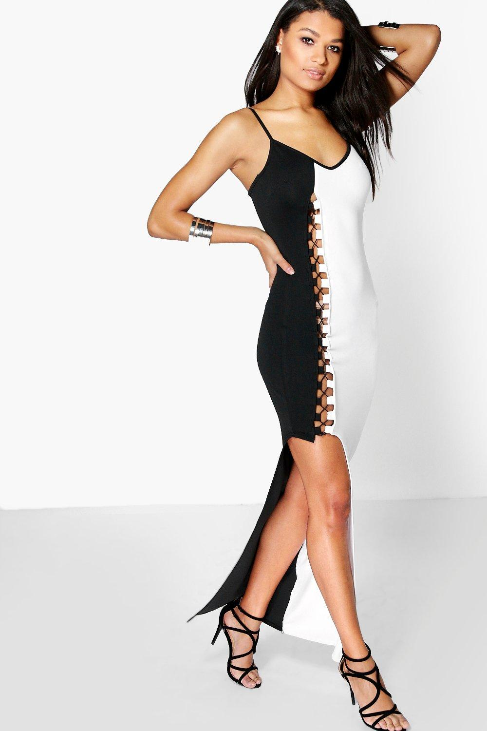 Lizzie Contrast Lace Up Asymmetric Maxi Dress