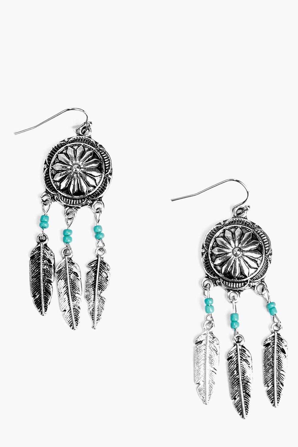 Eva Navaho Dream Catcher Feather Earrings