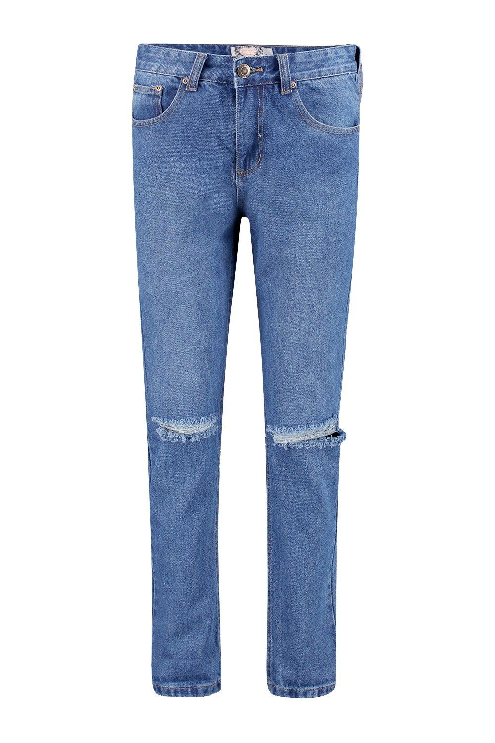 Molly Mid Rise Mid Wash Distressed Boyfriend Jean