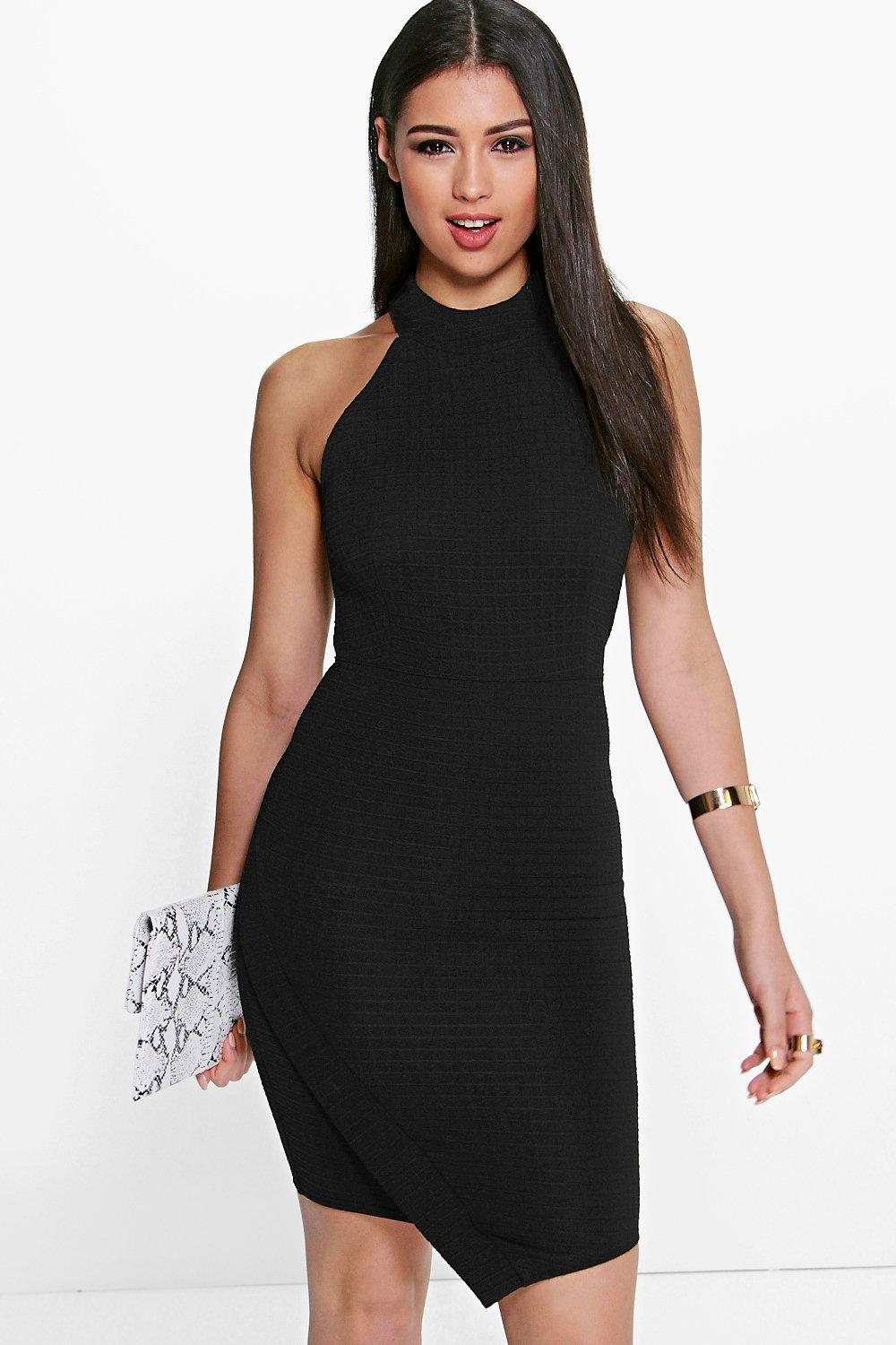 Mai High Neck Asymmetric Wrap Bodycon Dress at boohoo.com