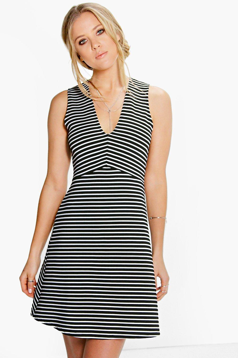 Laura Plunge Stripe Skater Dress