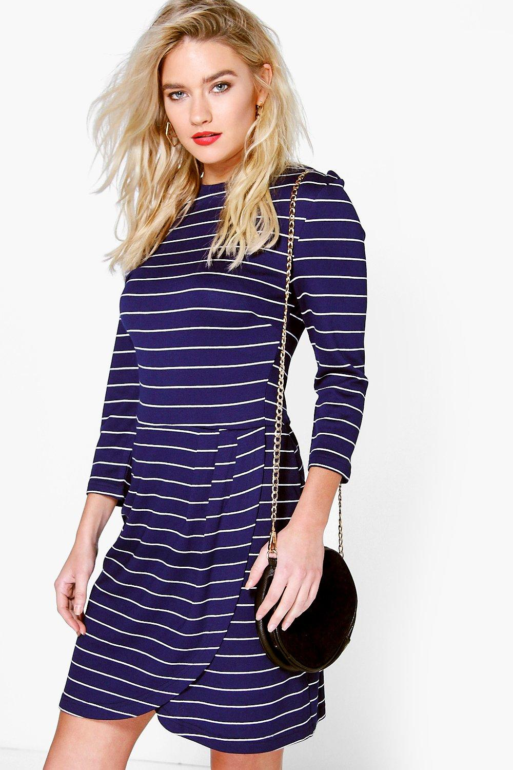 Ali High Neck Stripe Wrap Skirt Midi Dress