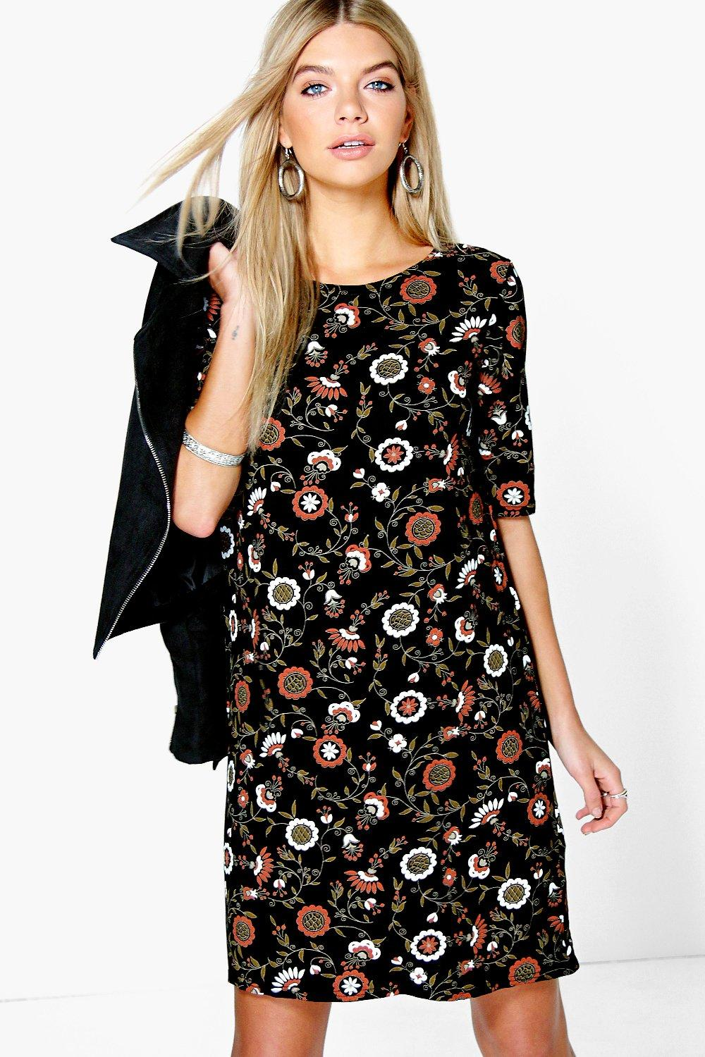 Aileen 3/4 Sleeve Shift Dress