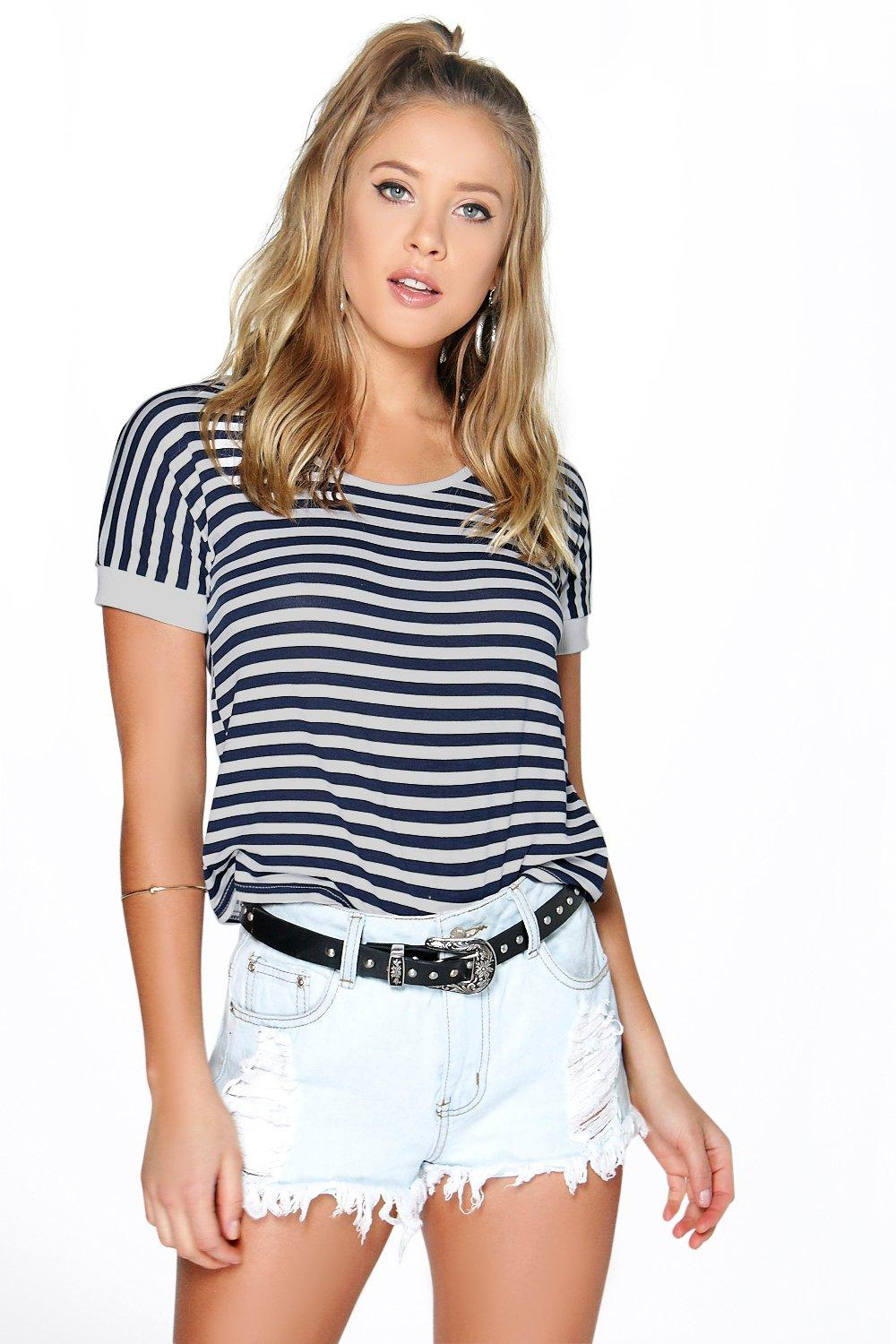 Olivia Striped Contrast Cuff & Neck Tee