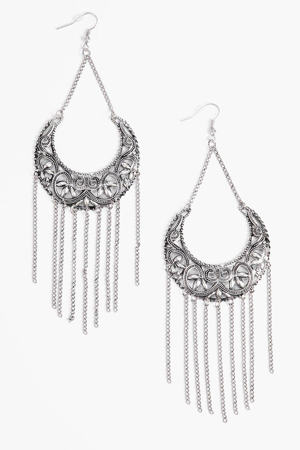 Mary Engraved Tassel Hoop Earrings