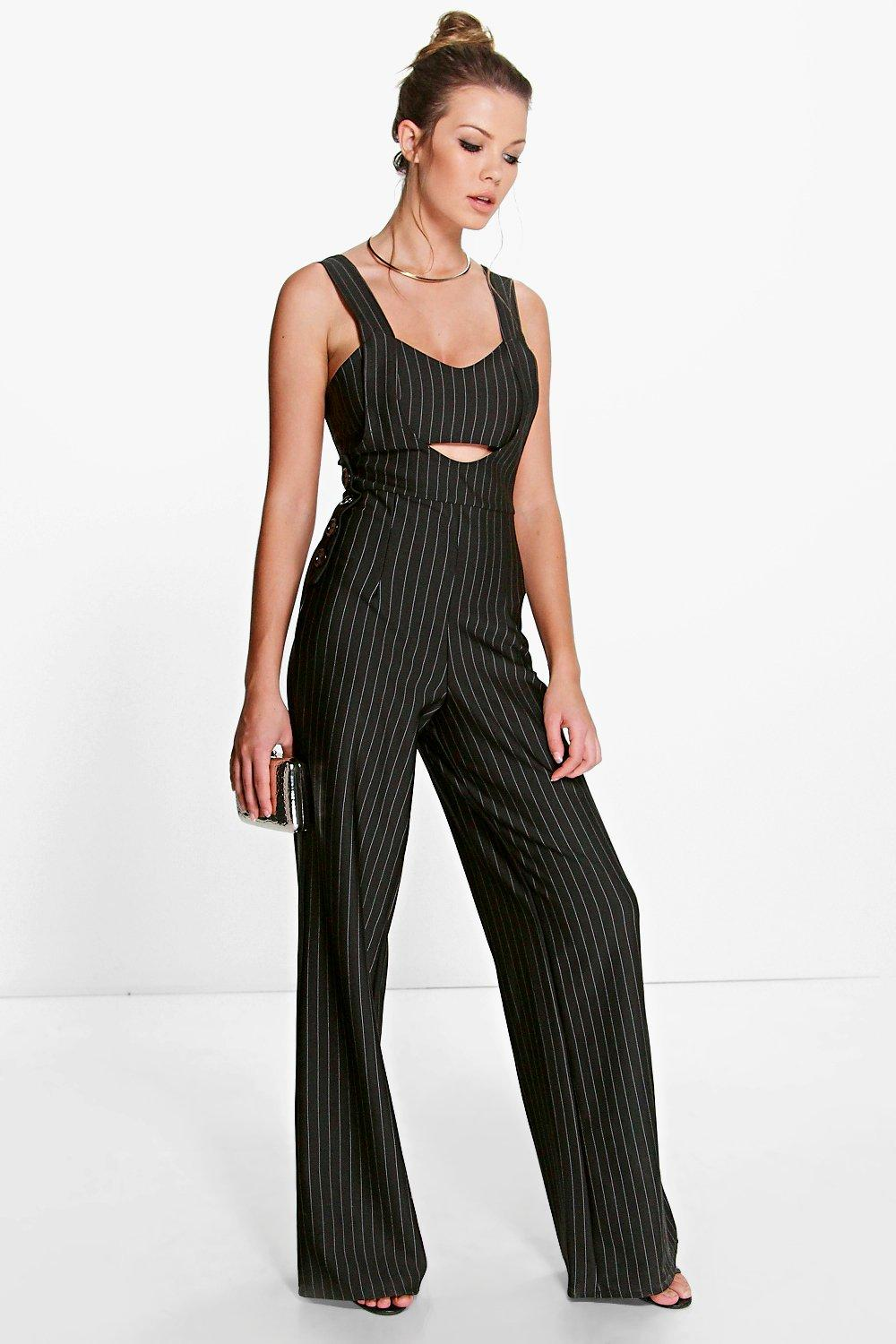 Ava Pinstripe Cut Work Leg Jumpsuit