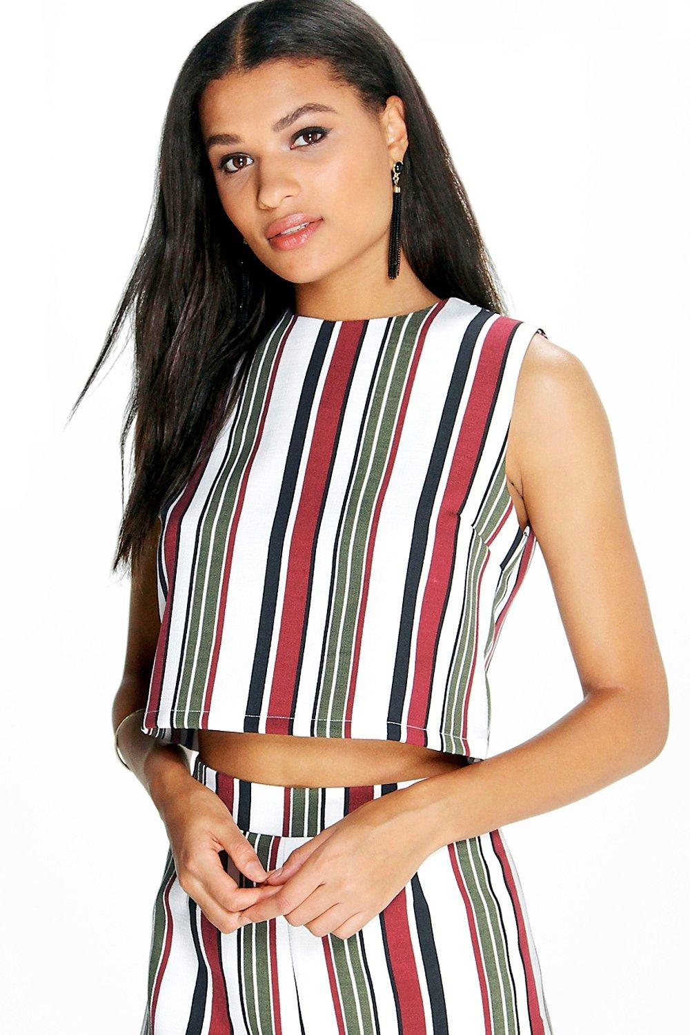 Amy Striped Woven Sleeveless Crop Top