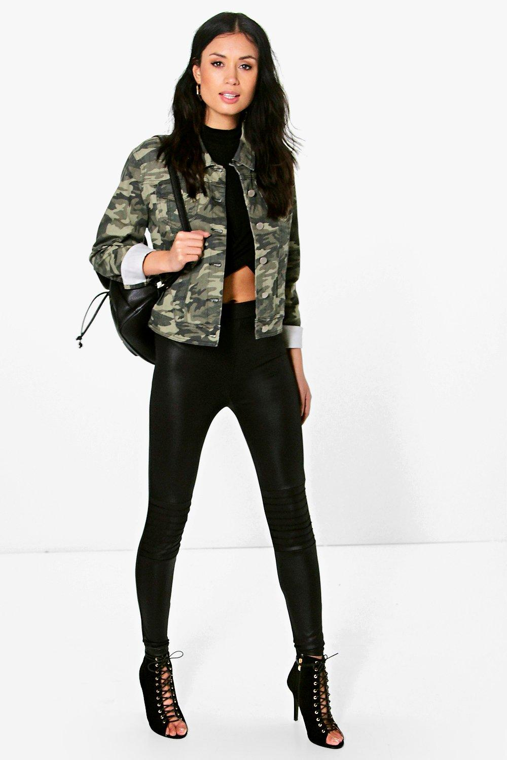 Lila Wet Look Biker Leggings