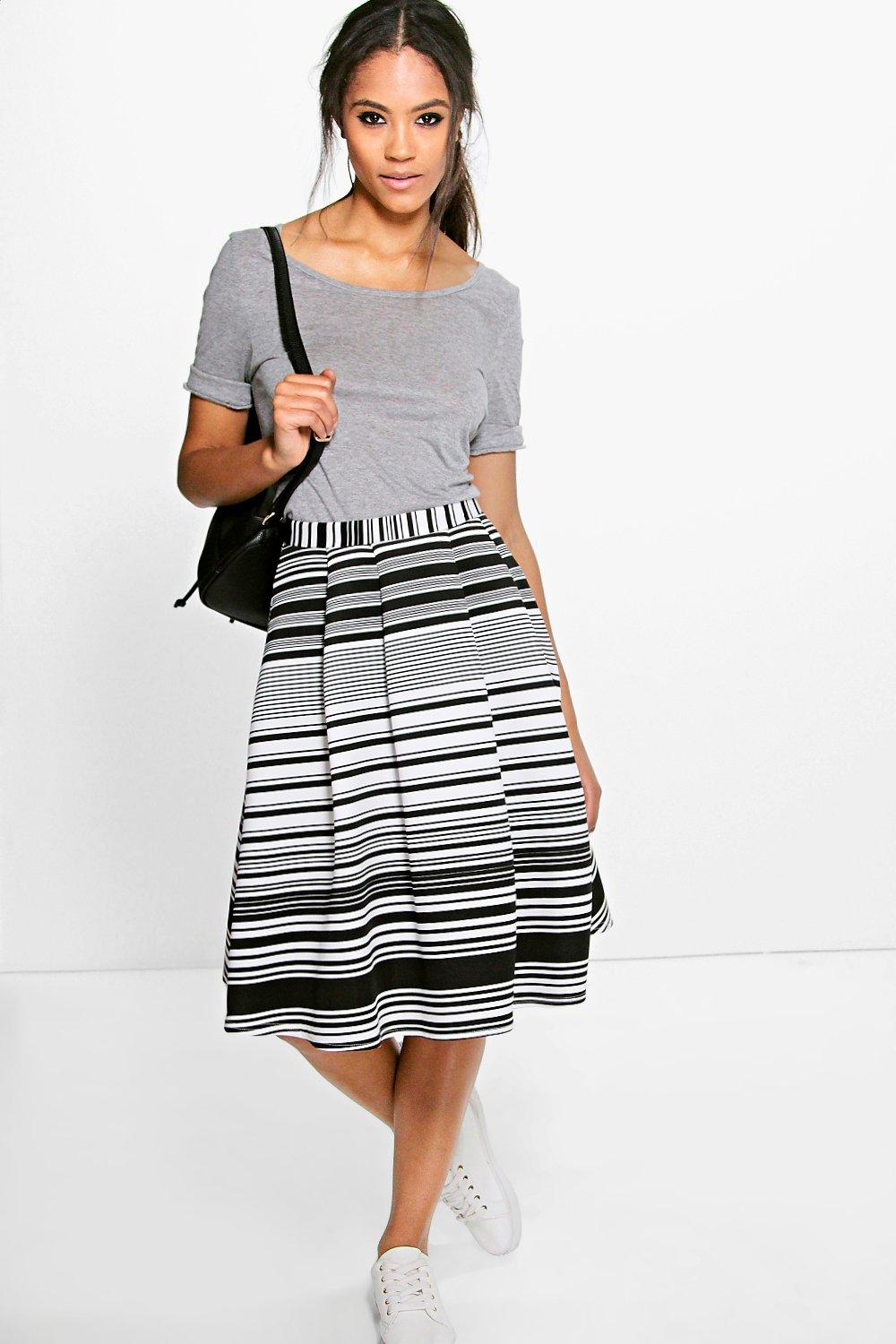 Dayla Stripe Box Pleat Midi Skater Skirt