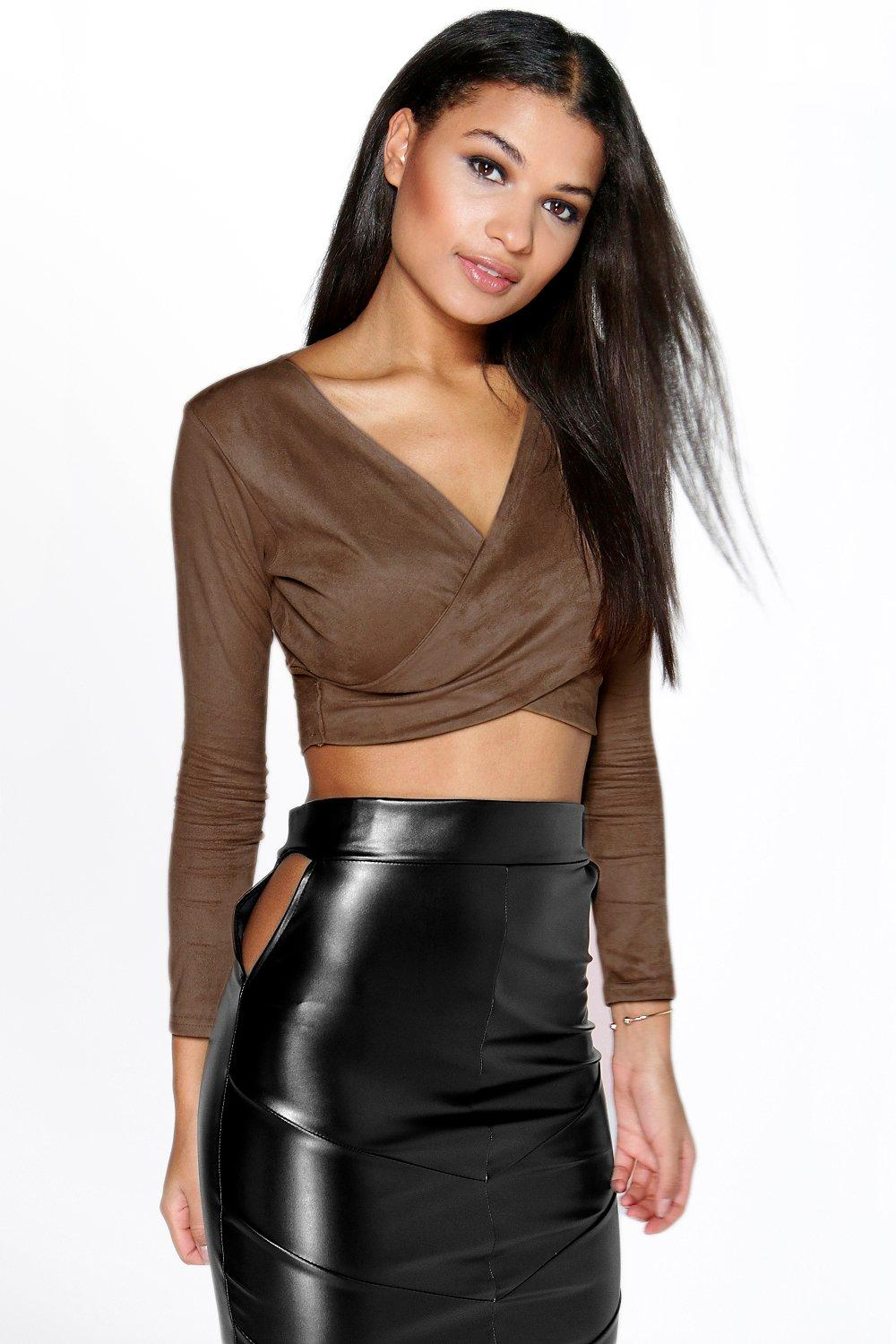 Nina Suedette Wrap Long Sleeve Crop