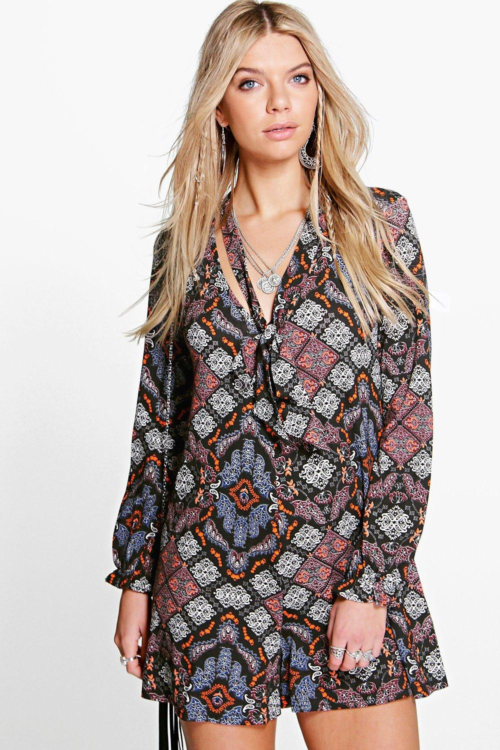 Alice Tie Neck Paisley Playsuit