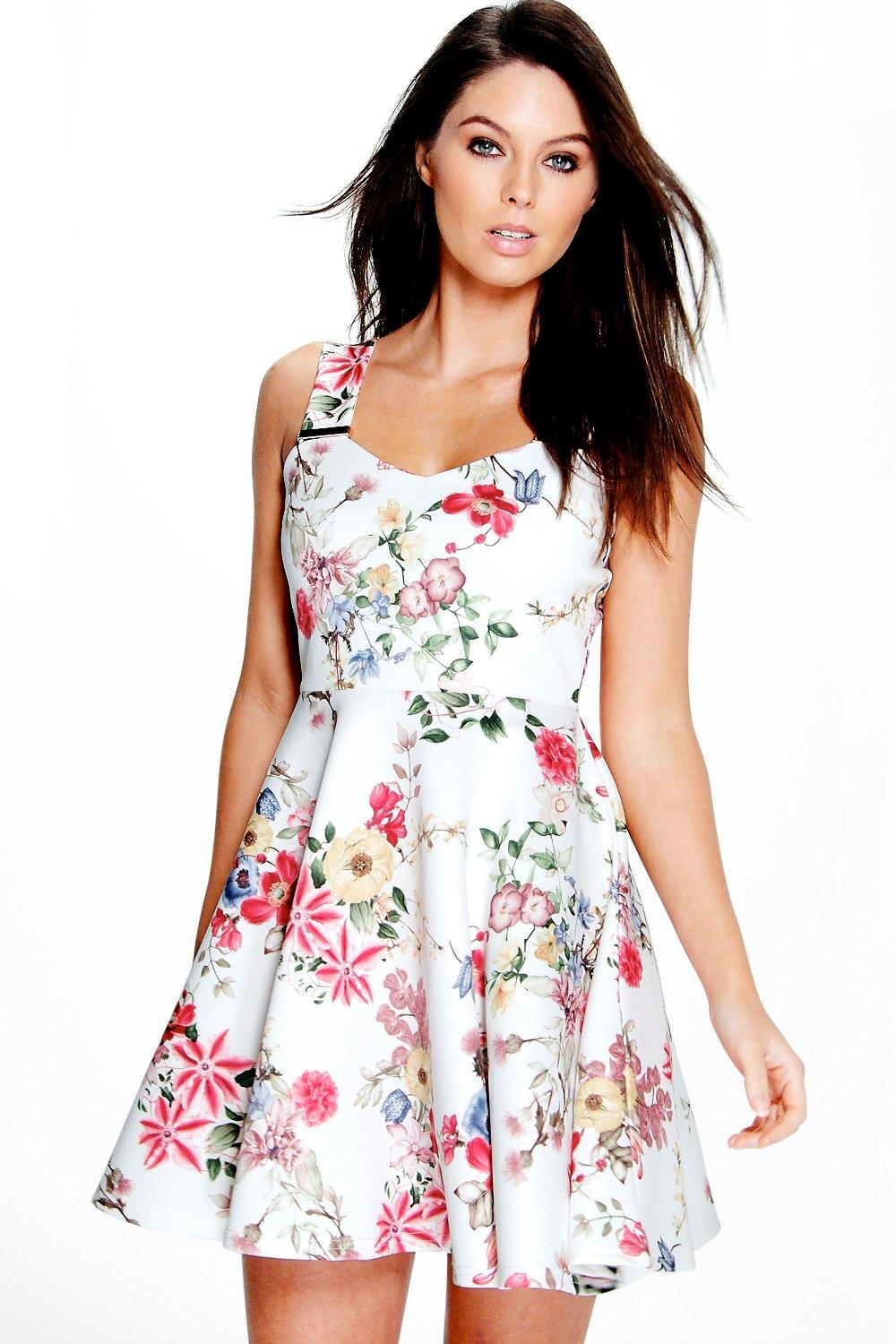 Kely strap trim detail floral skater dress at for Boohoo dresses for weddings