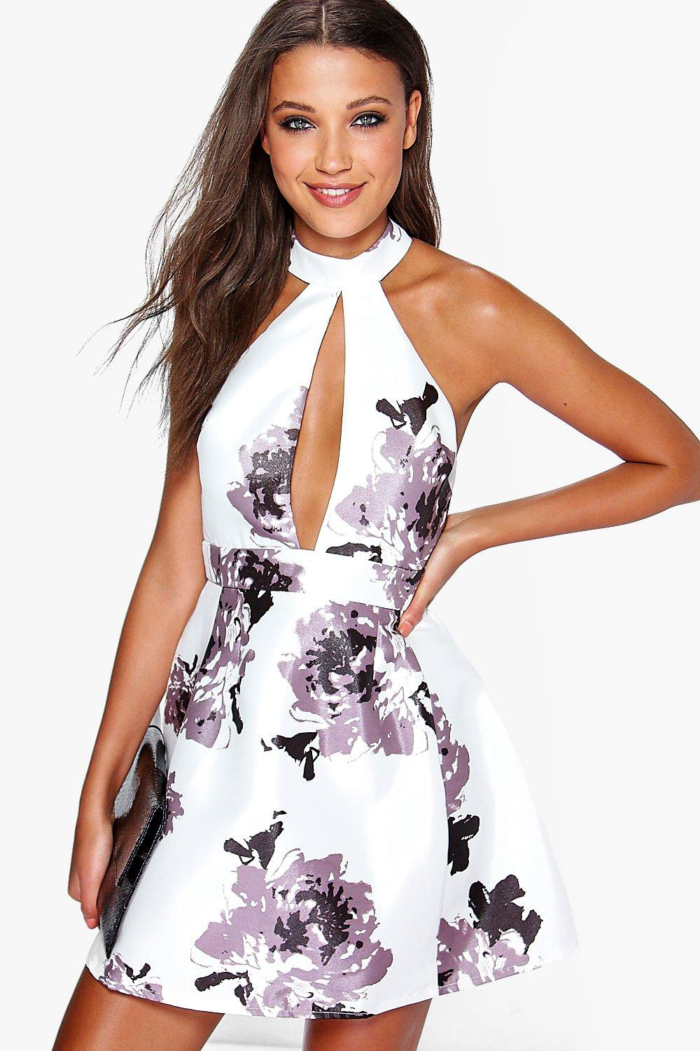 Sarah high neck satin floral skater dress at for Boohoo dresses for weddings