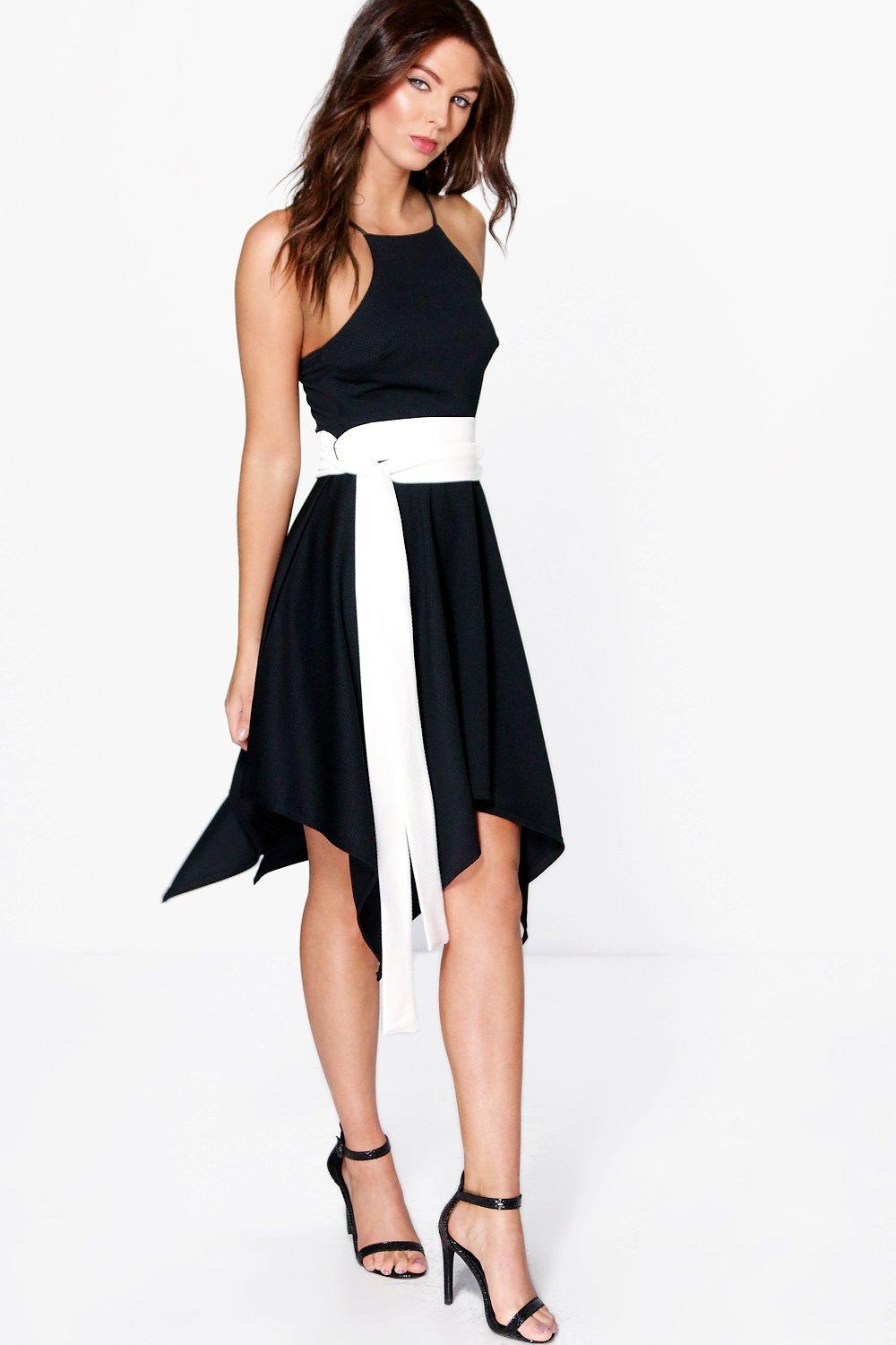 Rachel Textured Fabric Hanky Hem Skater Dress