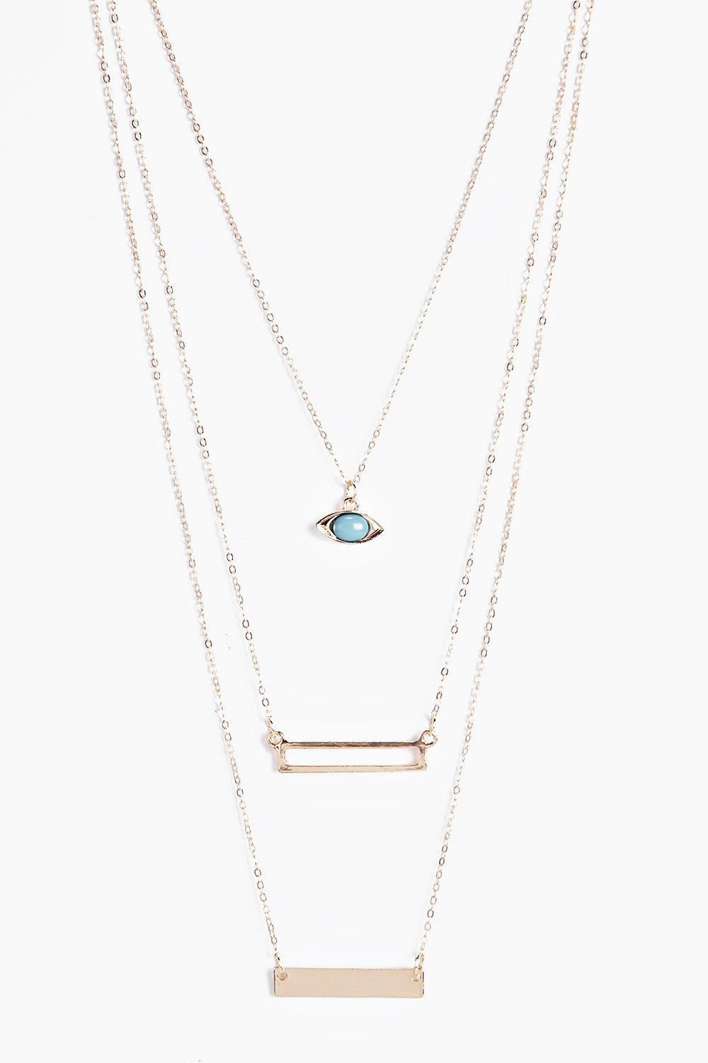 Leila Layered Bar And Eye Necklace