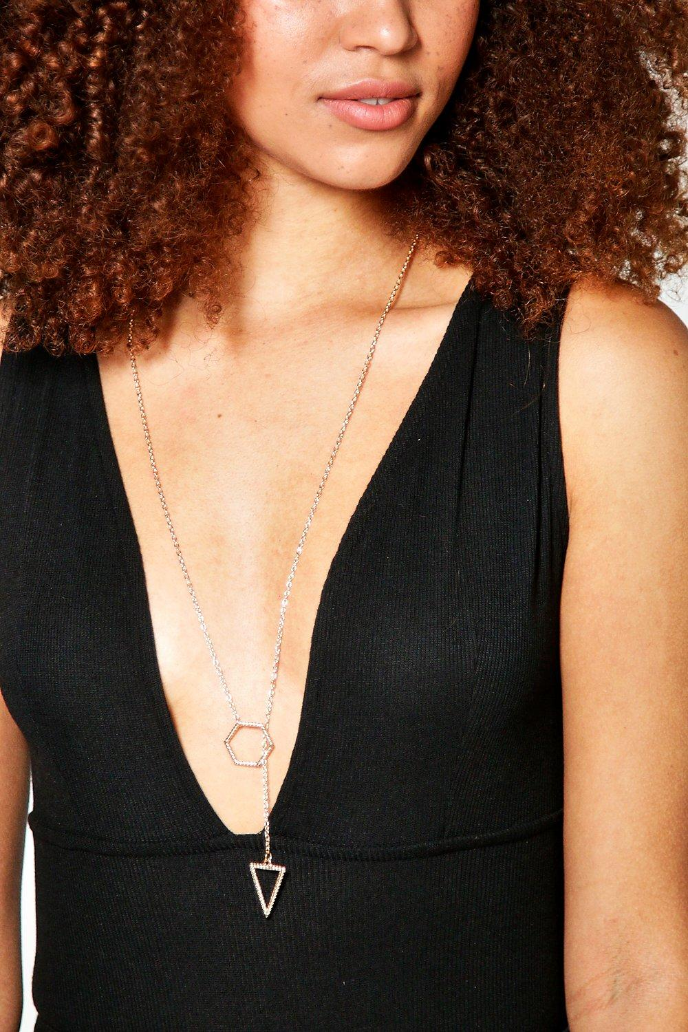 Aleena Geometric Plunge Necklace