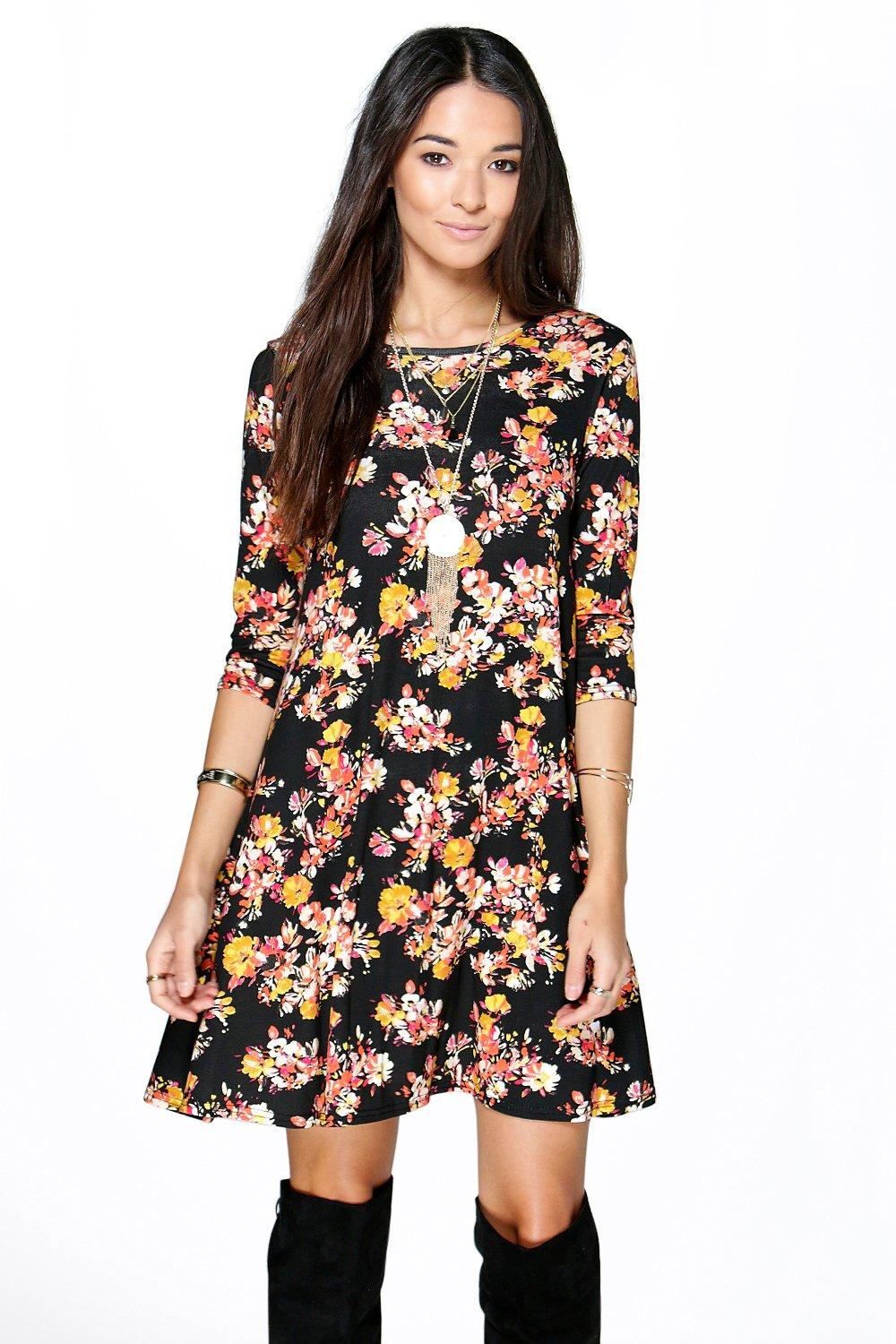 Felisa Low Back Floral Swing Dress