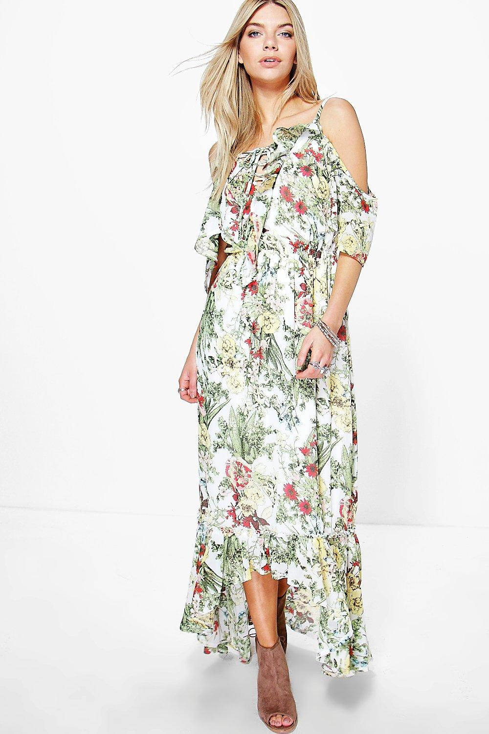 Cari floral print ruffle neck maxi dress at for Boohoo dresses for weddings