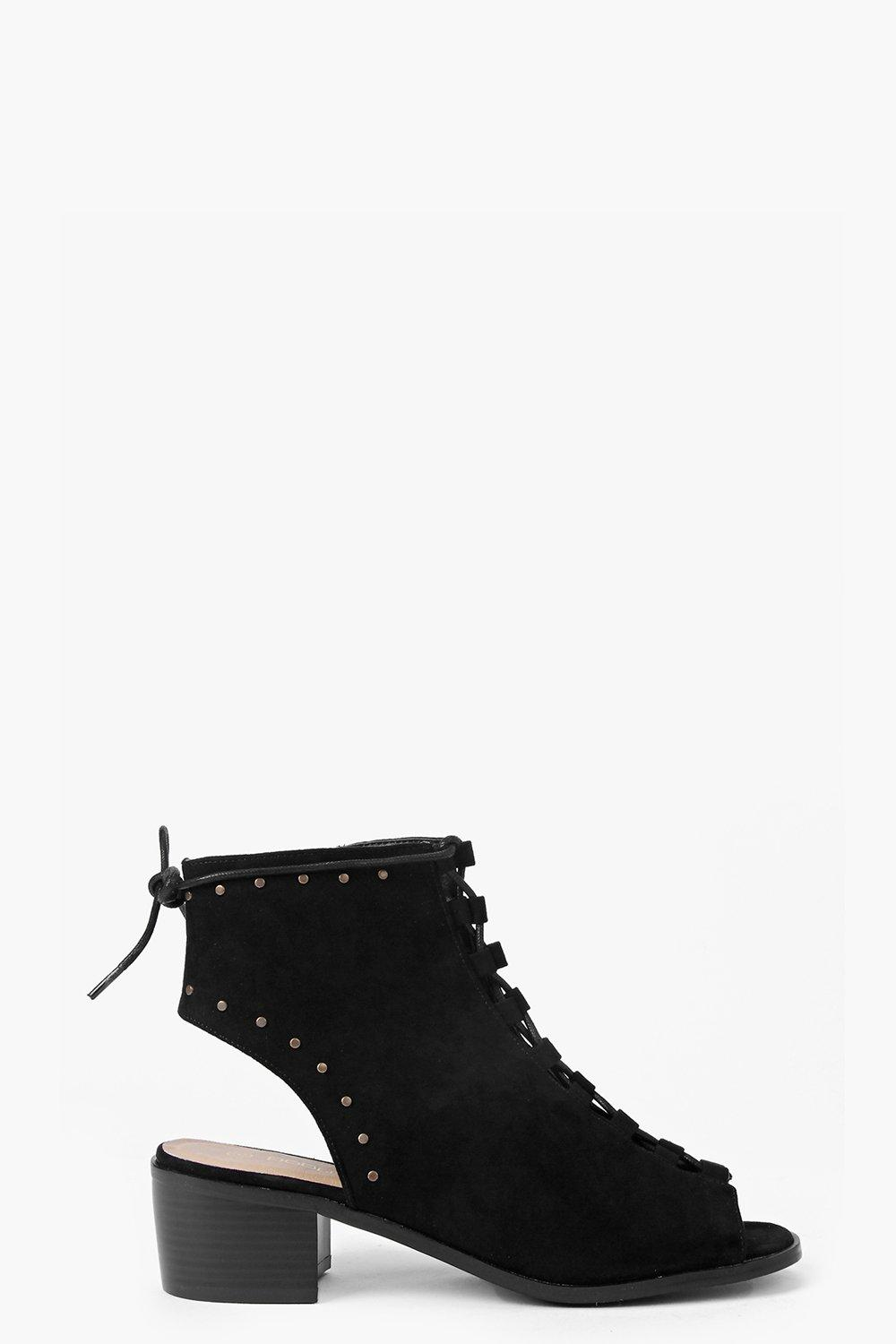 Joanne Pinstud Lace Up Block Heel
