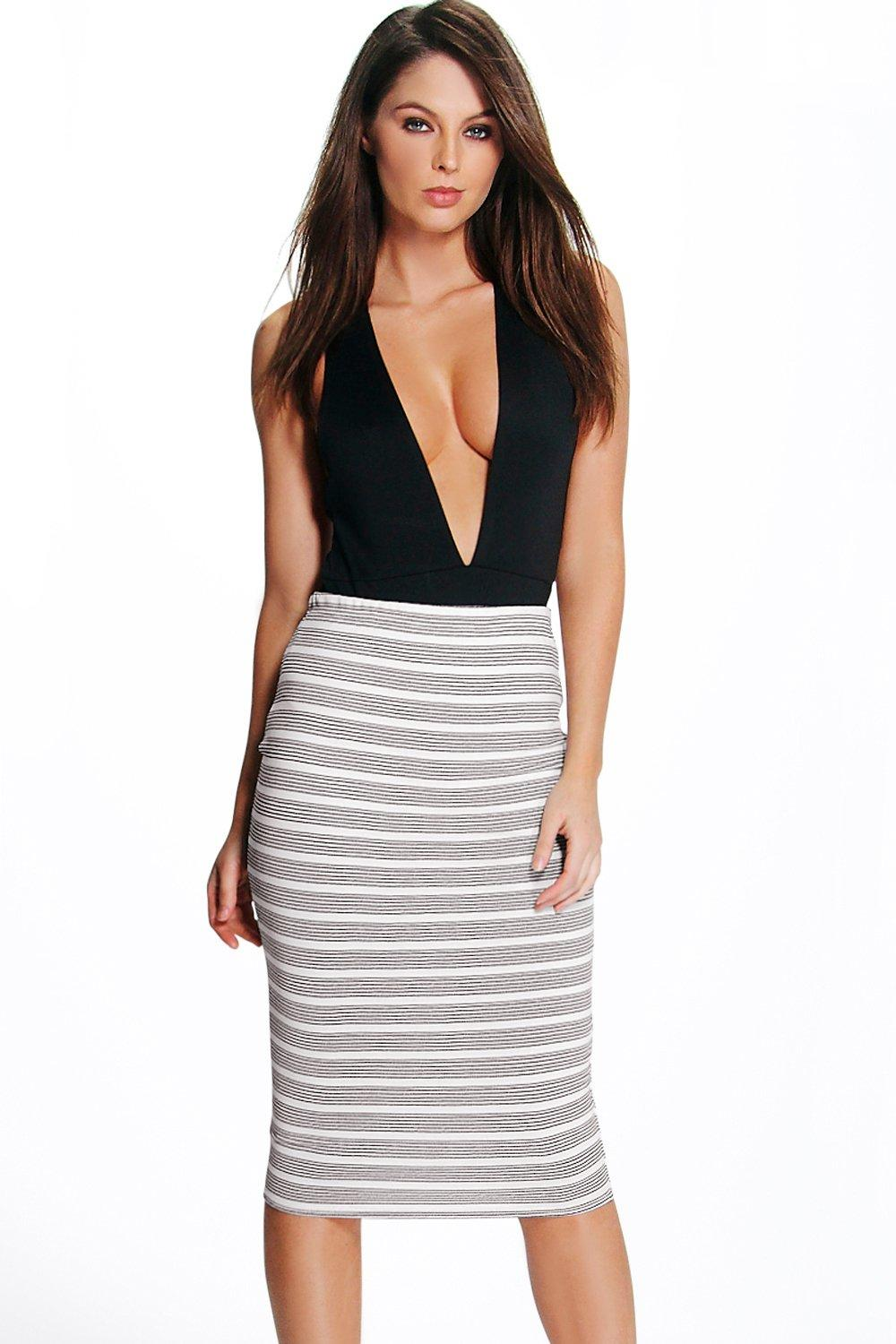 Willow Heavy Crepe Striped Midi Skirt