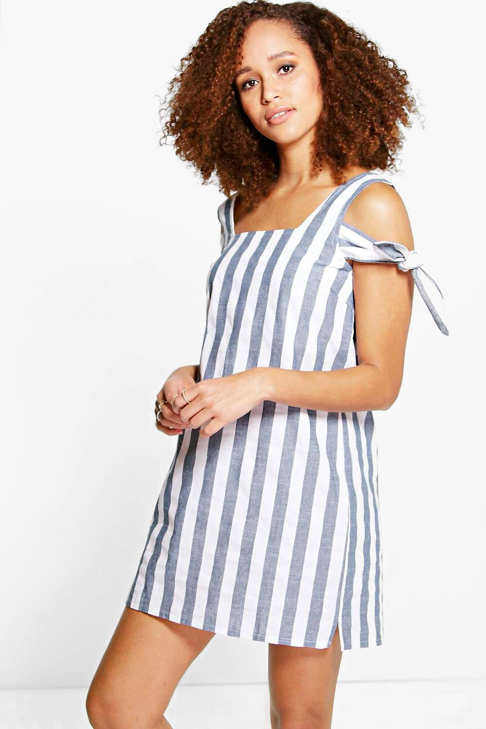 Hannah Denim Stripe Tie Sleeve Shift Dress