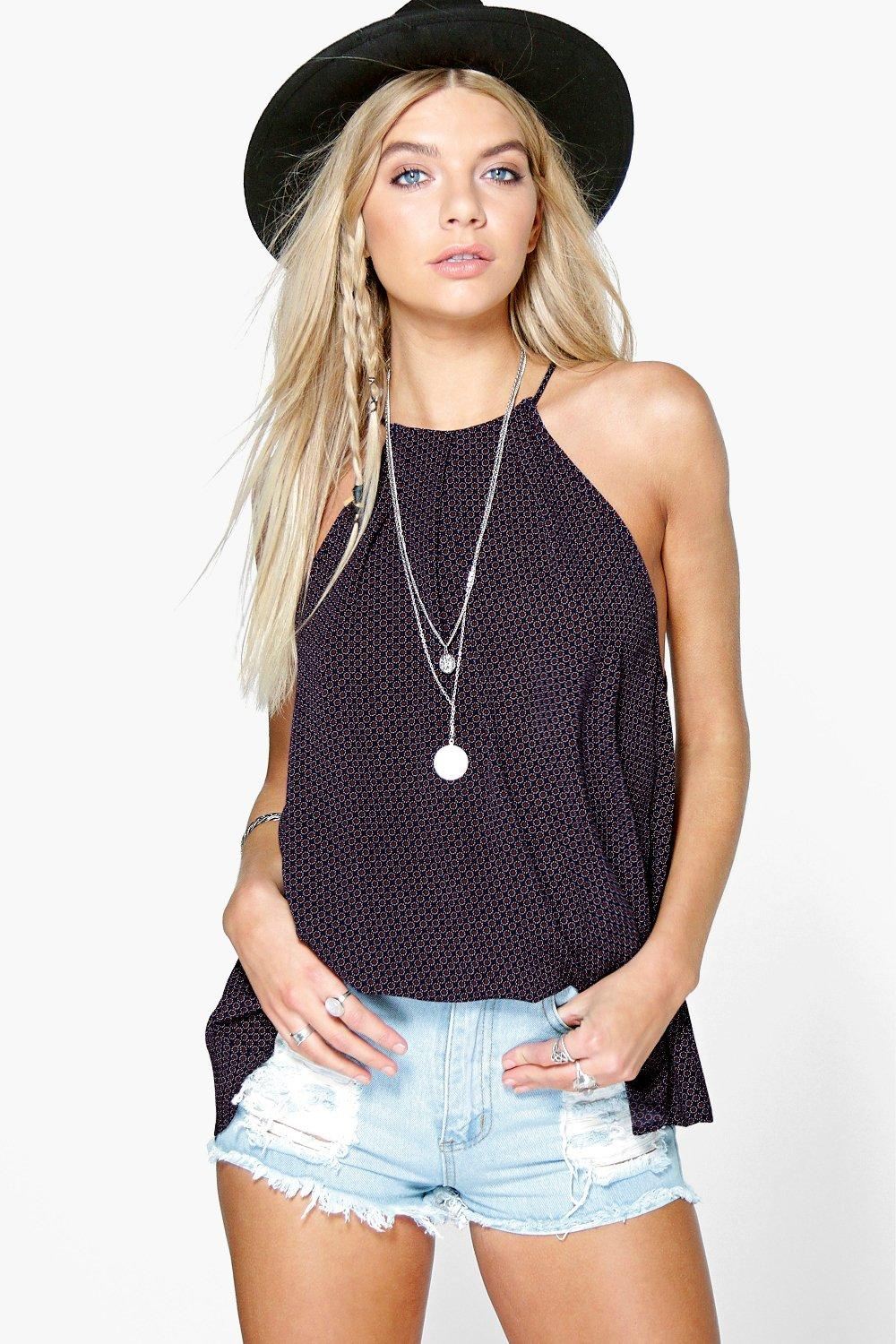 Amy Printed High Neck Swing Top