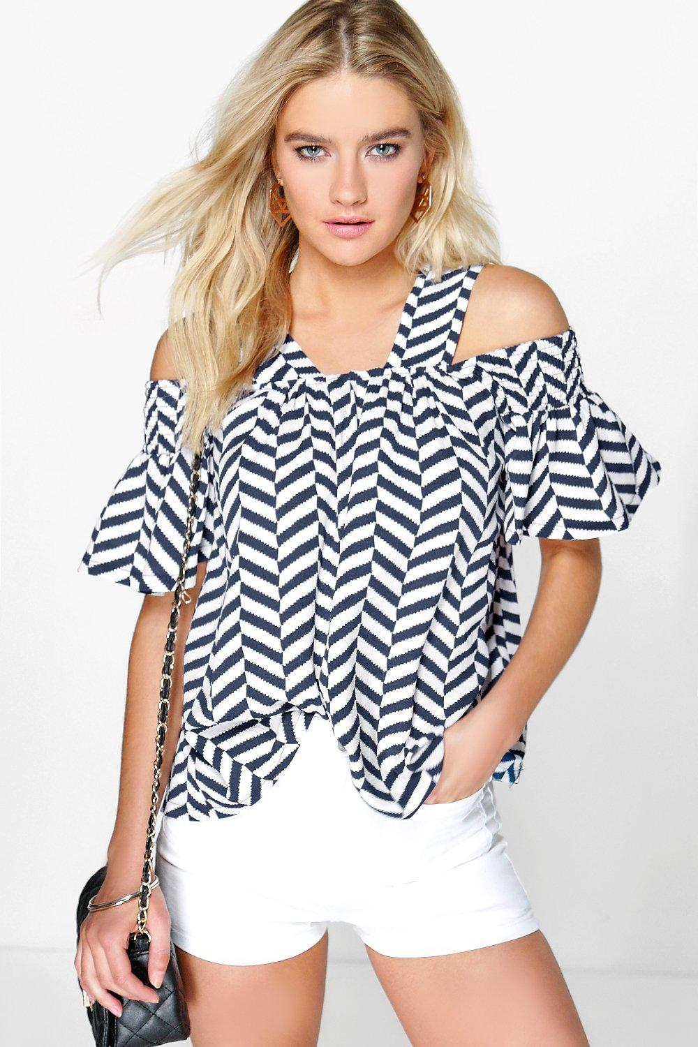 Lydia Cold Shoulder Zig Zag Print Top
