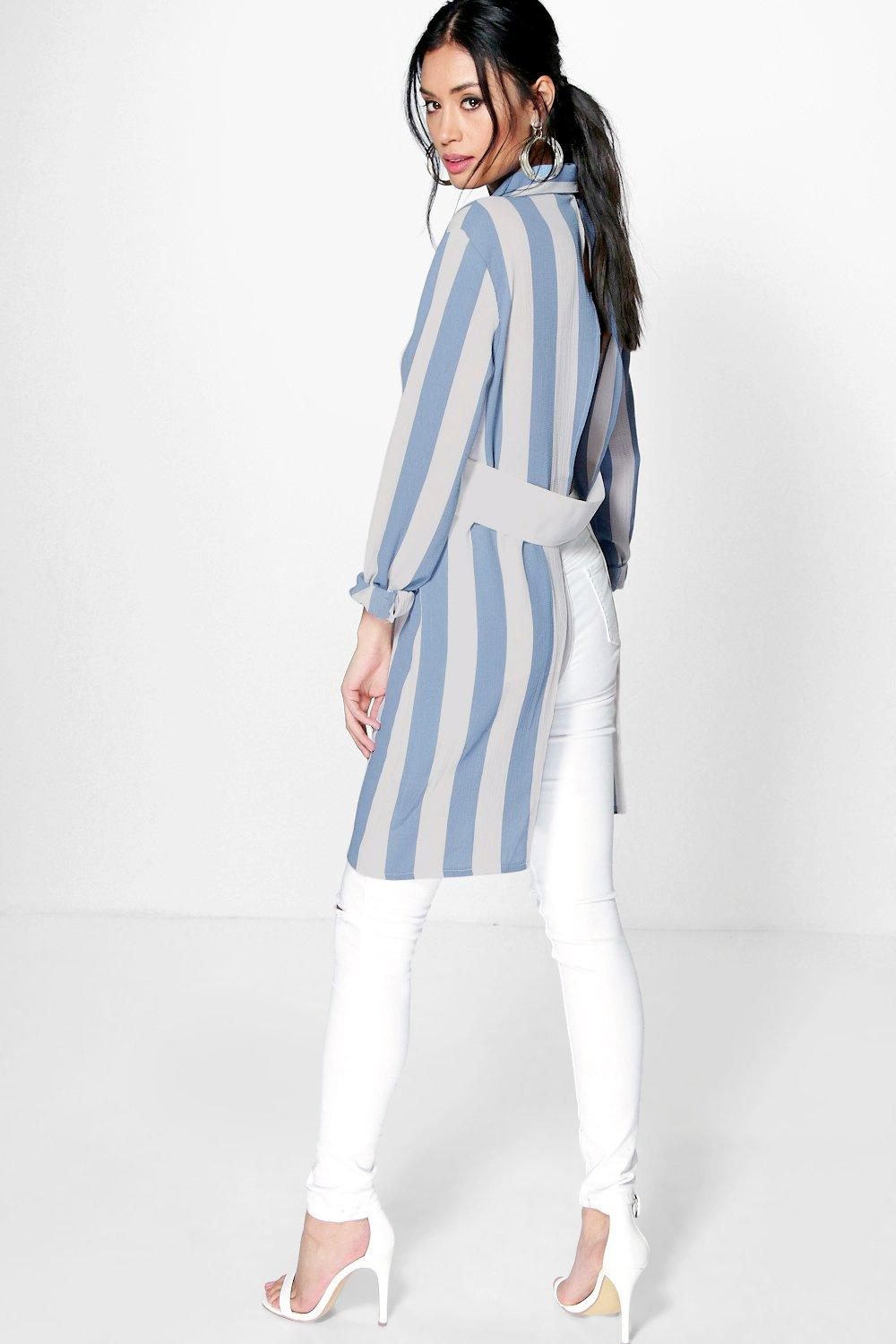 Amy Bold Stripe Longline Open Back Shirt