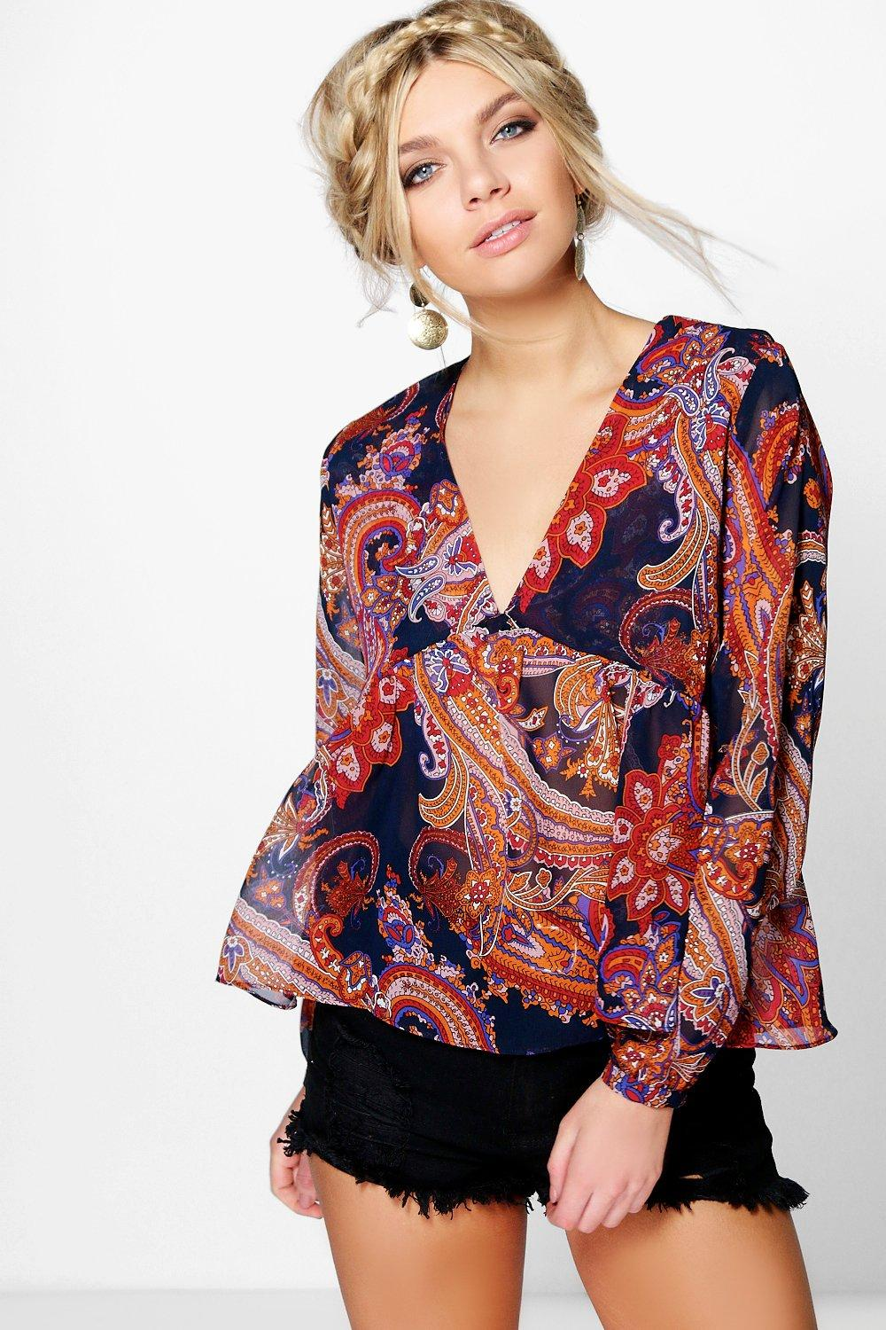 Collette Printed Smock Blouse