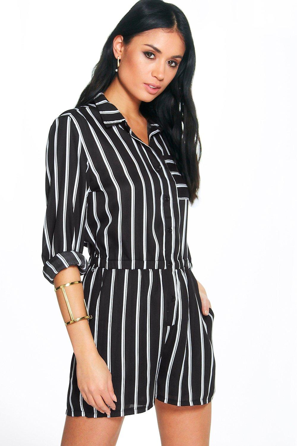 Leah Monochrome Stripe Shirt Playsuit