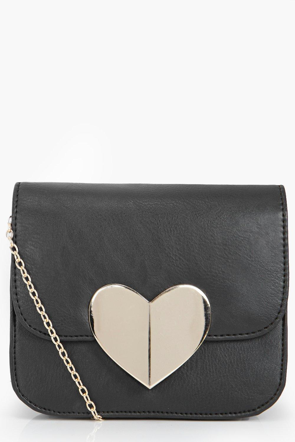 Mia Metal Heart Cross Body Bag