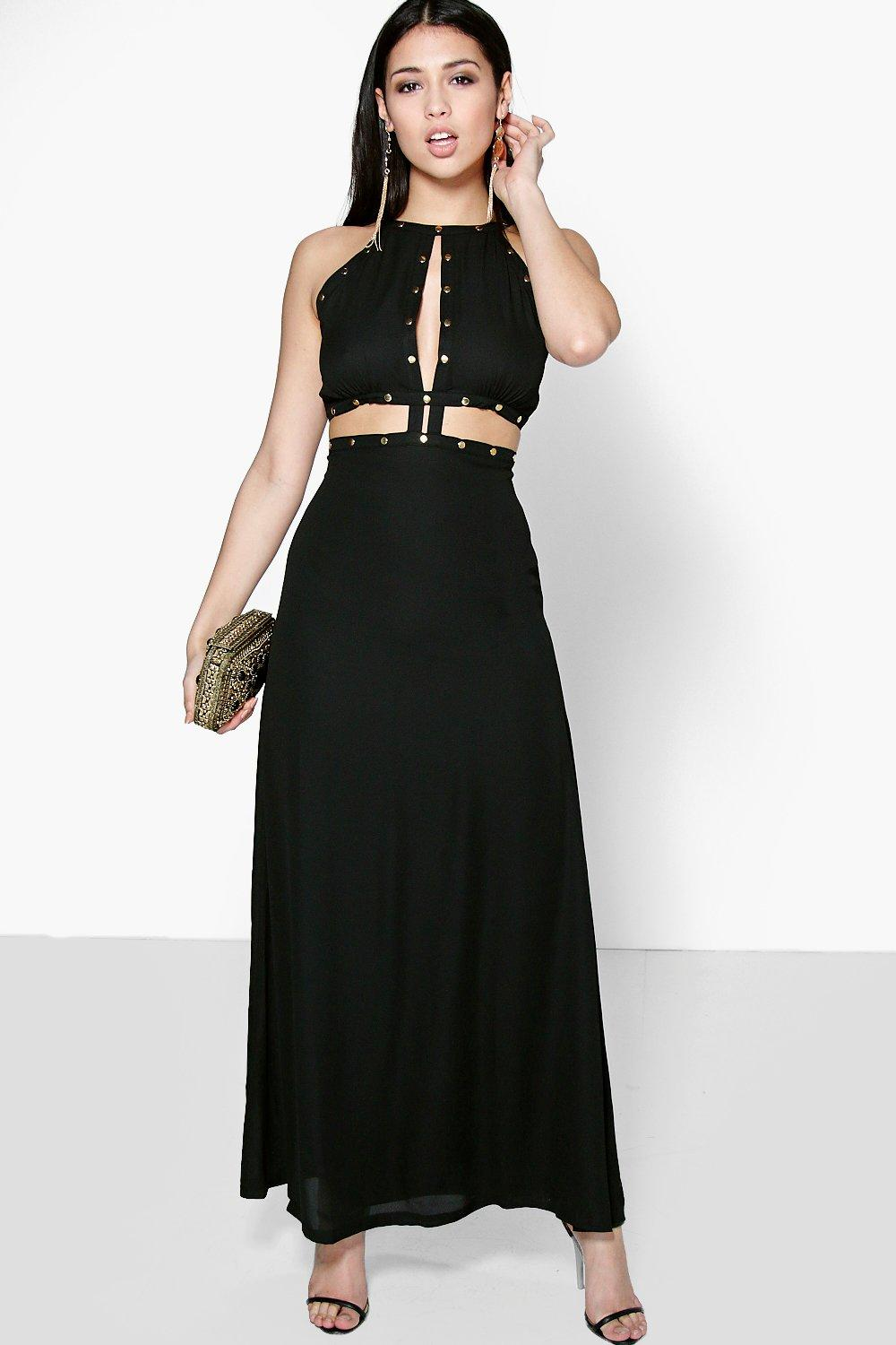 Molly Stud Trim Cutwork Tie Back Maxi Dress