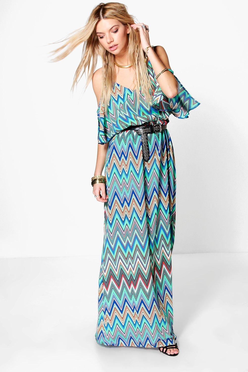 Melinda Zig-Zag Cold Shoulder Maxi Dress
