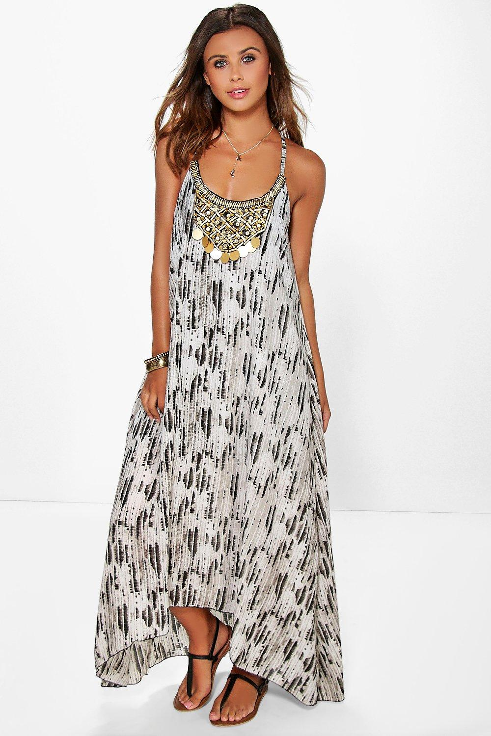 Vera Smudge Print Beaded Trim Maxi Dress