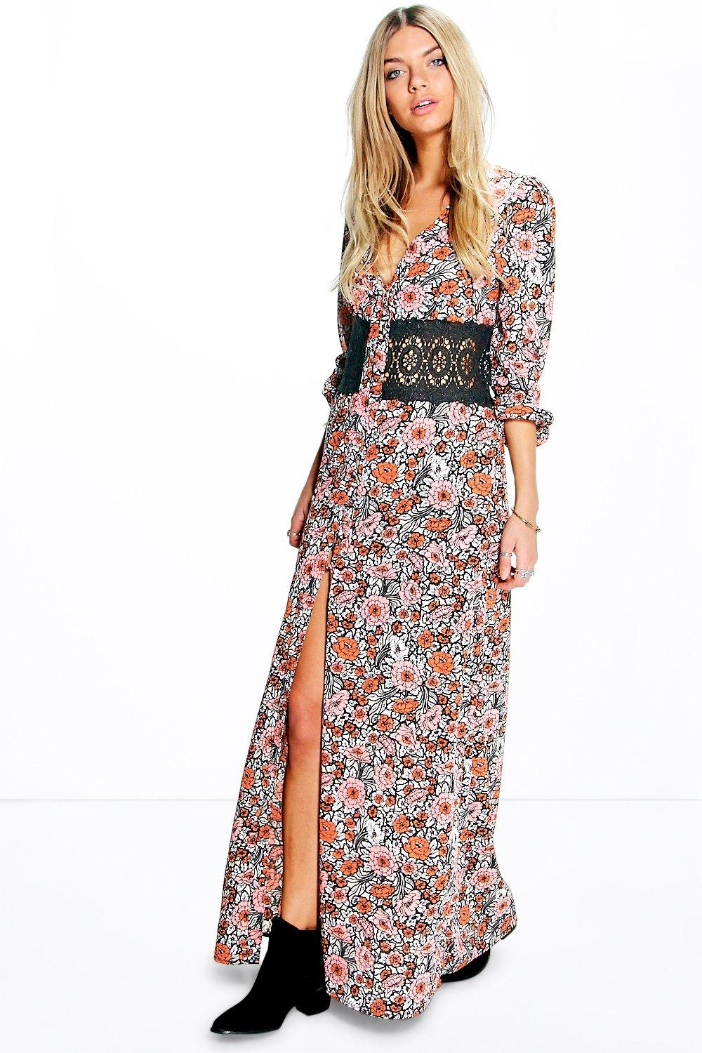 Boutique Dia Floral Lace Waist Button Maxi Dress