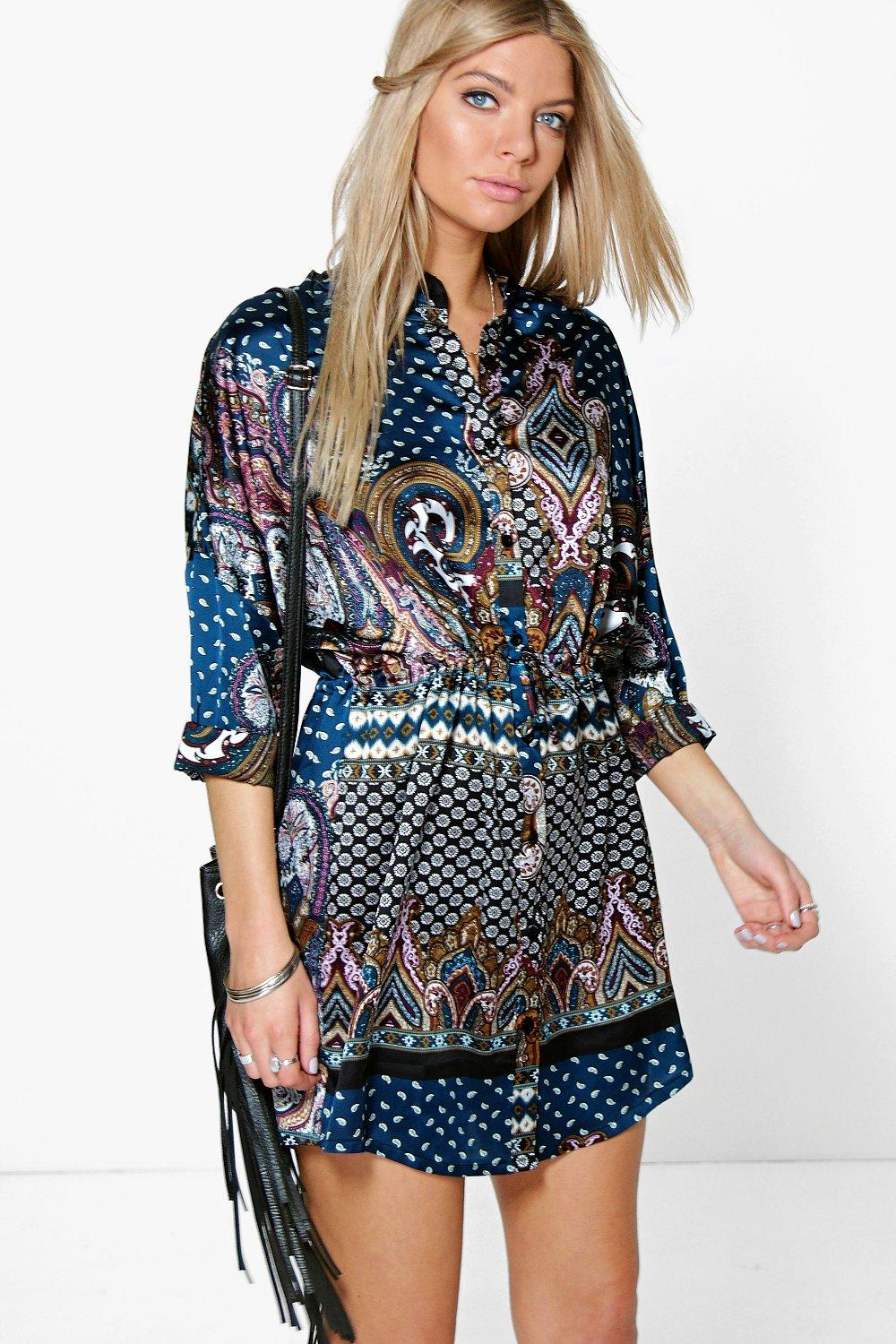 Helenne Ethnic Print Shirt Dress