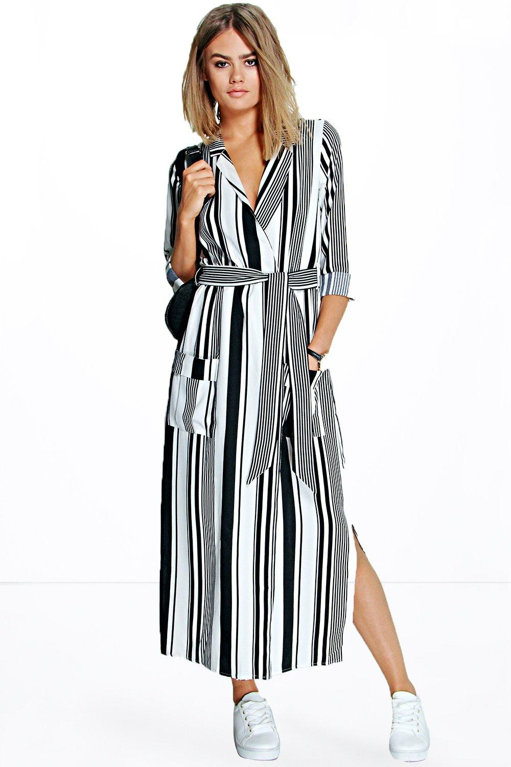 Becky Striped Maxi Shirt Dress at boohoo.com