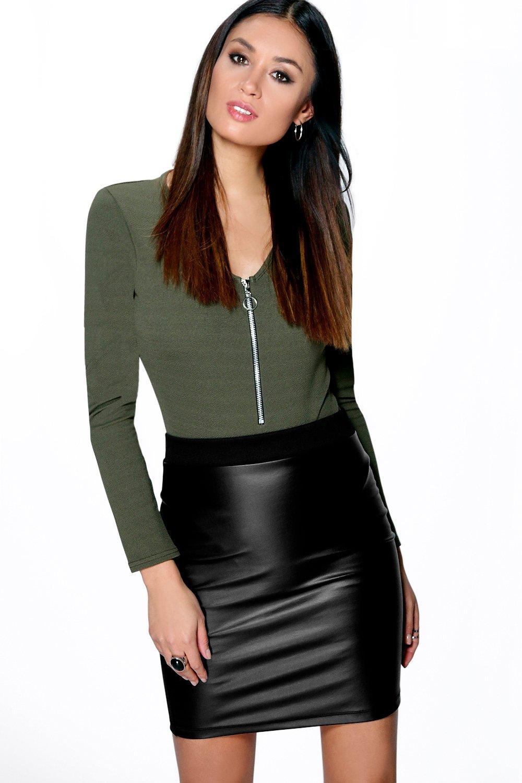 Mia Leather Look Bodycon Mini Skirt at boohoo.com
