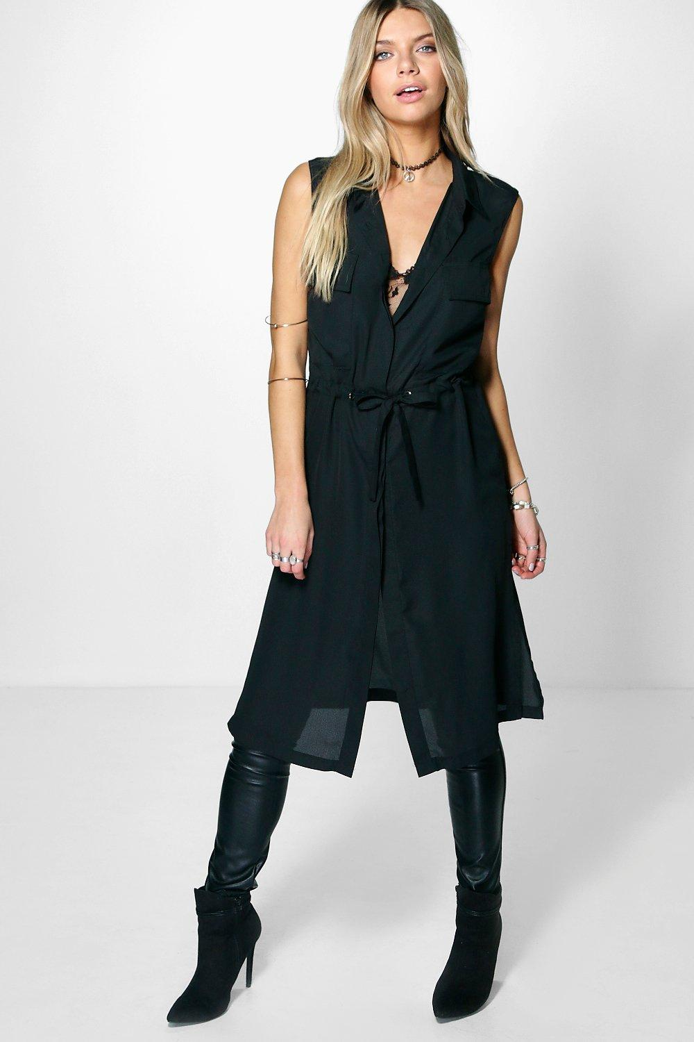Celina Sleeveless Tie Waist Long Shirt