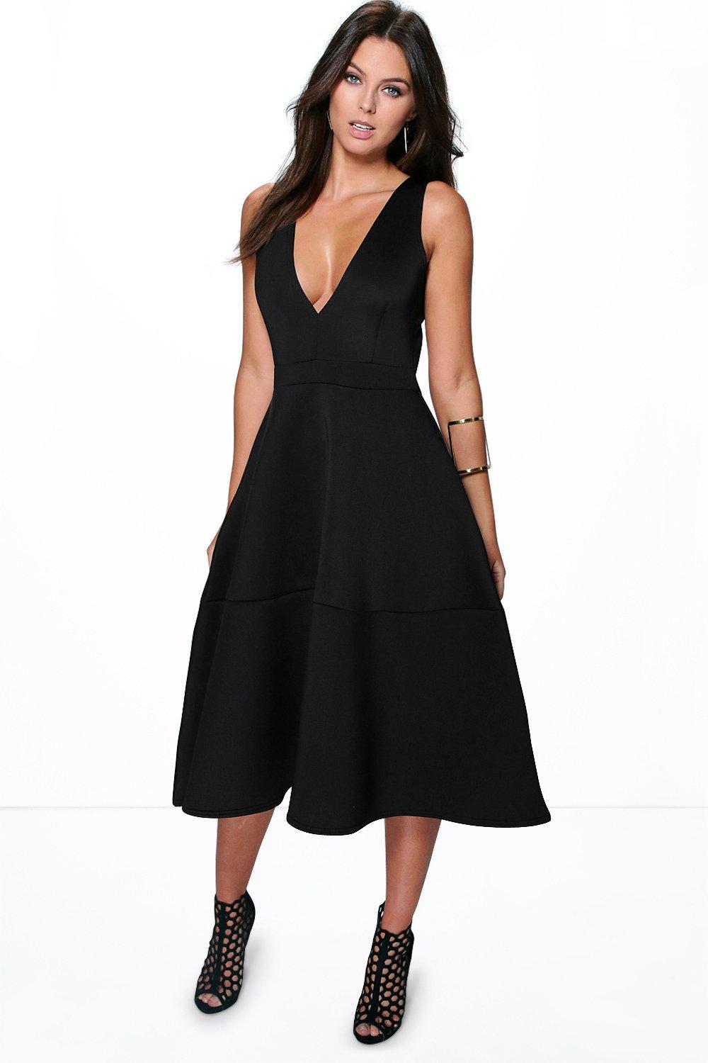 Kate bonded scuba plunge skater dress at for Boohoo dresses for weddings